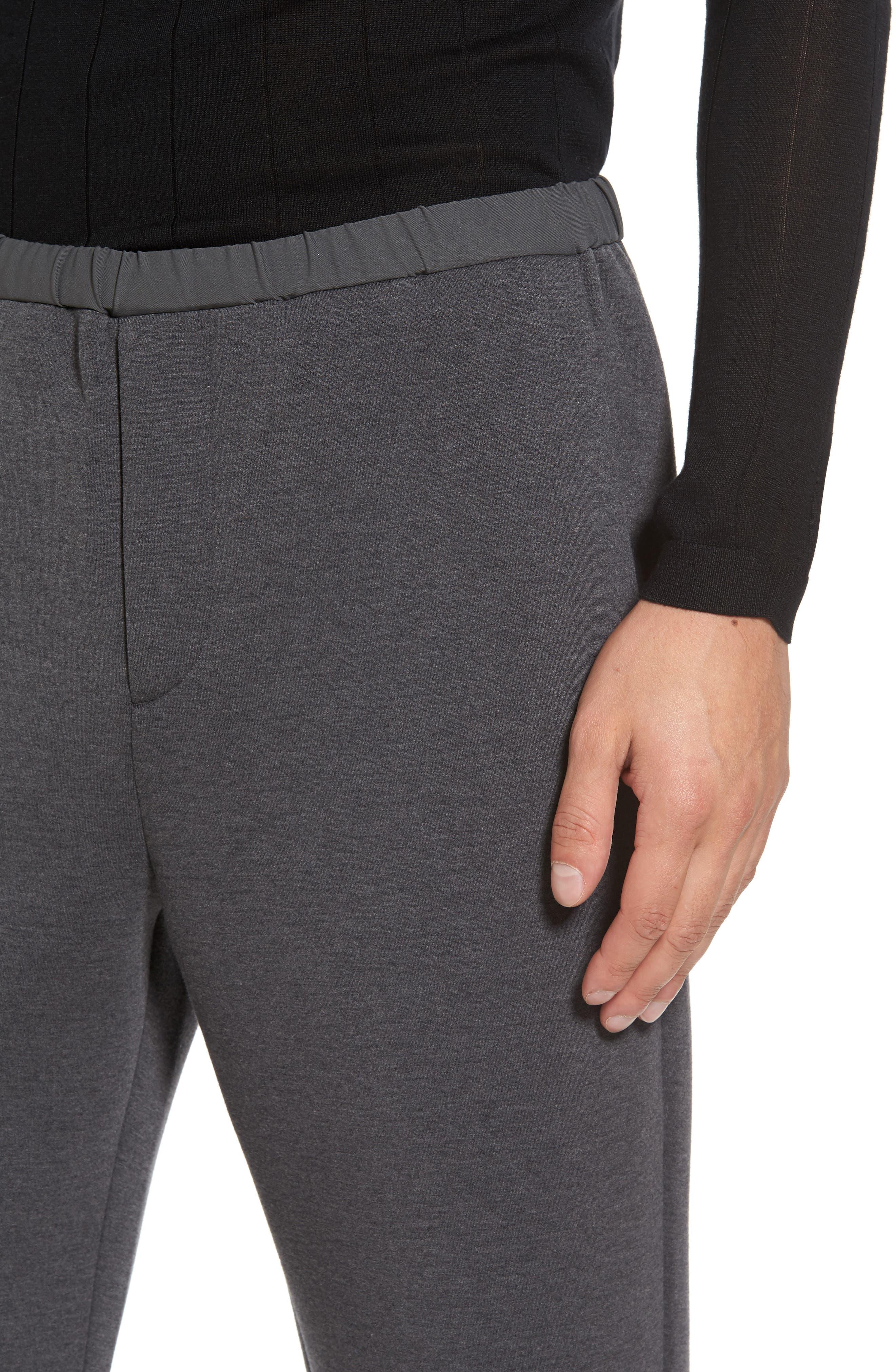 Knit Lounge Pants,                             Alternate thumbnail 4, color,                             Charcoal Heather