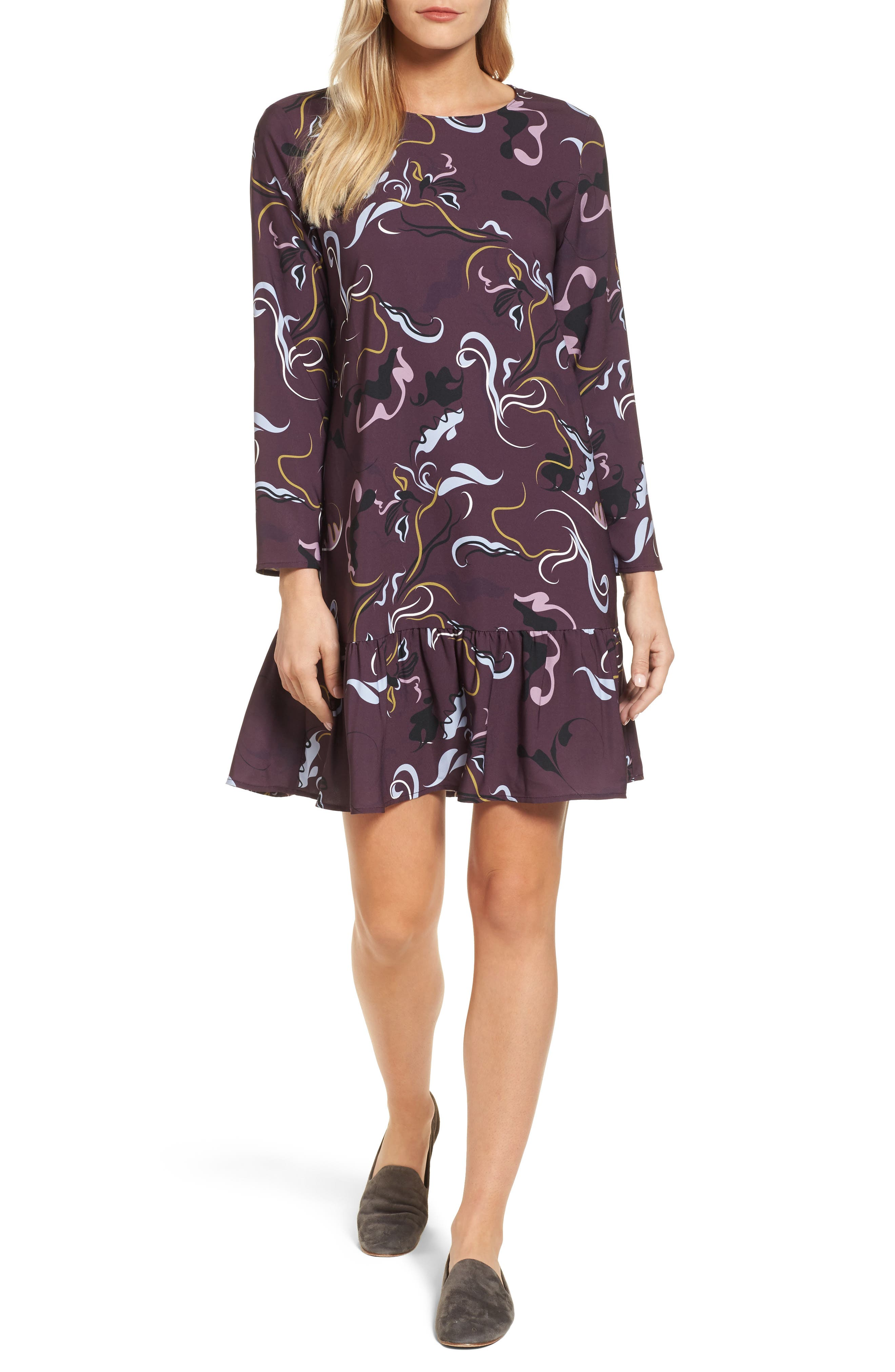Button Back Ruffle Hem Dress,                         Main,                         color, Burgundy Swirl Floral