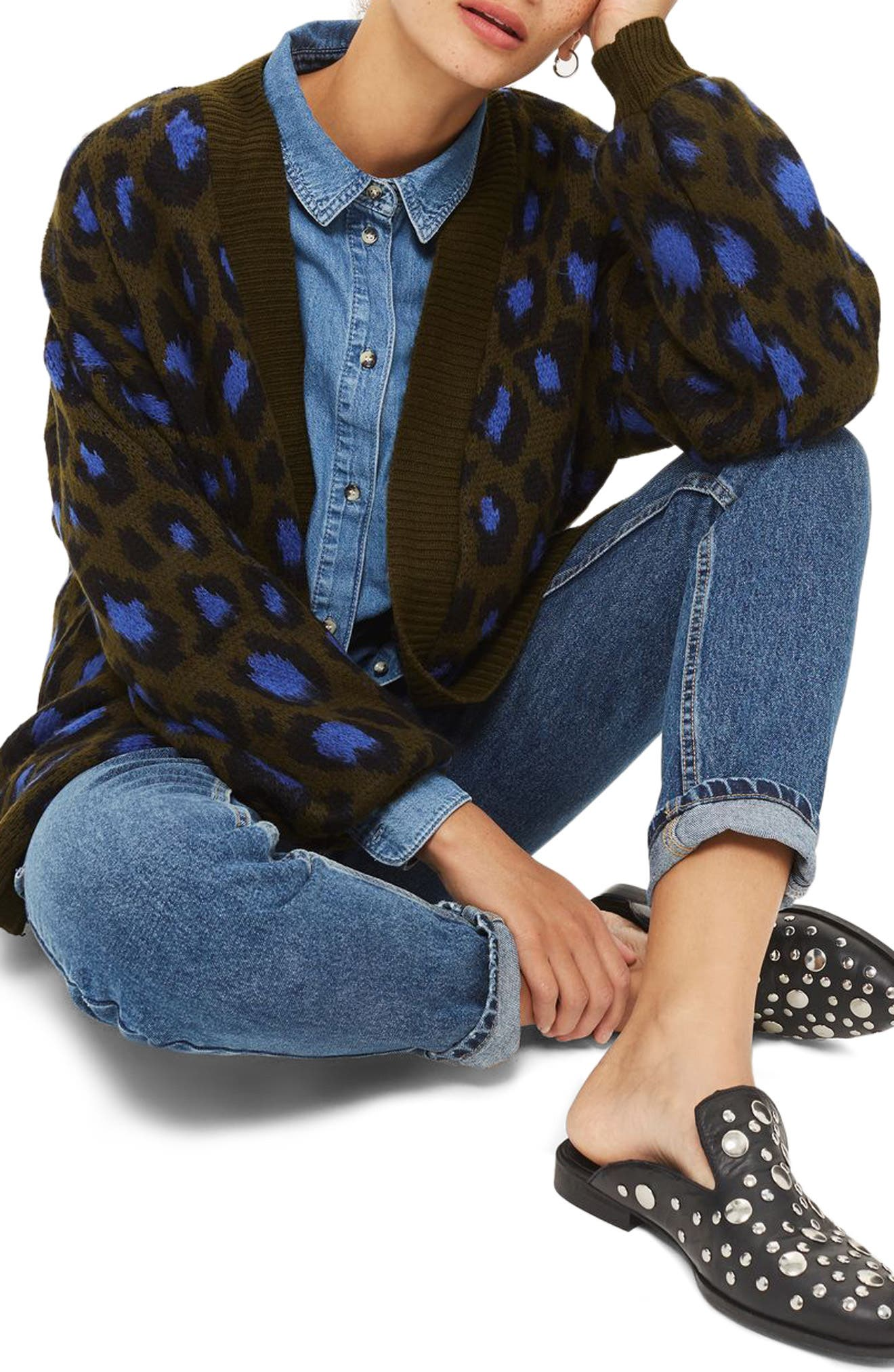 Alternate Image 1 Selected - Topshop Leopard Print Cardigan