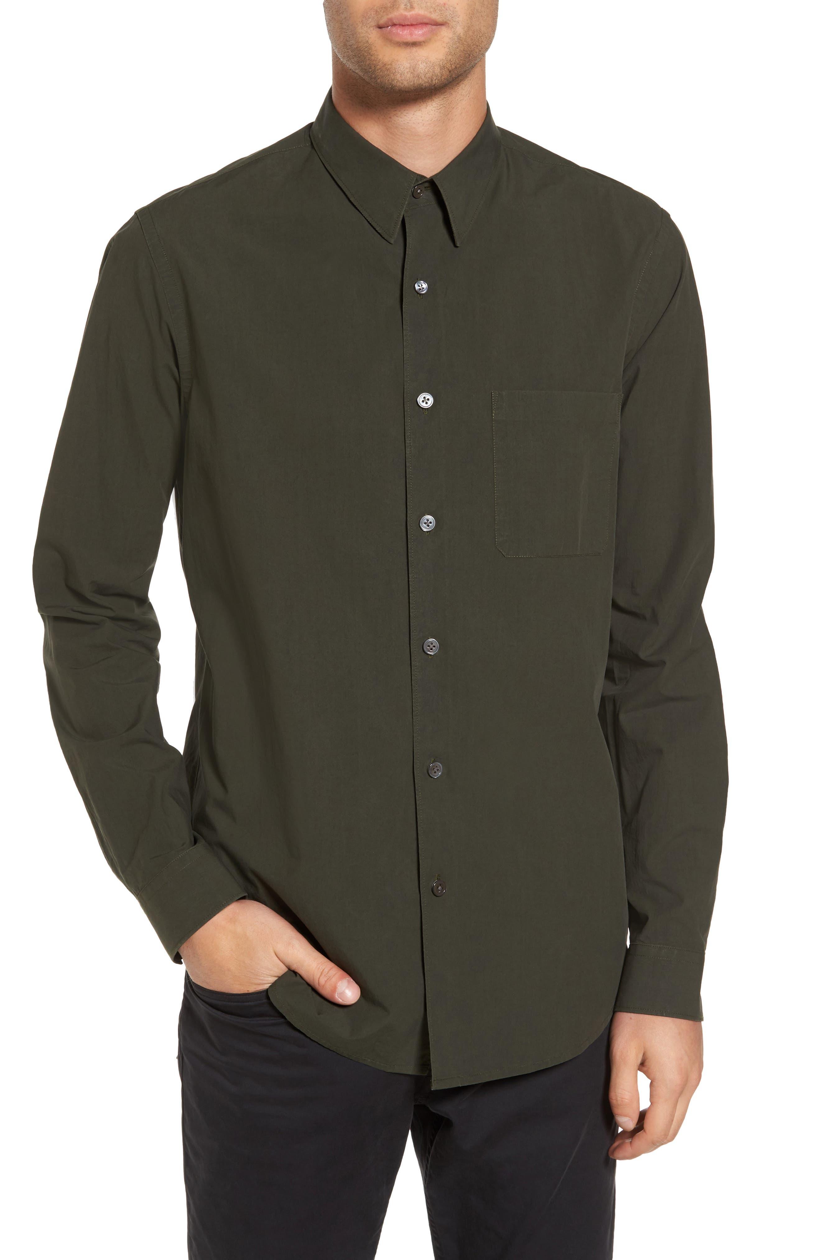 Rammy Trim Fit Solid Sport Shirt,                         Main,                         color, Mantis