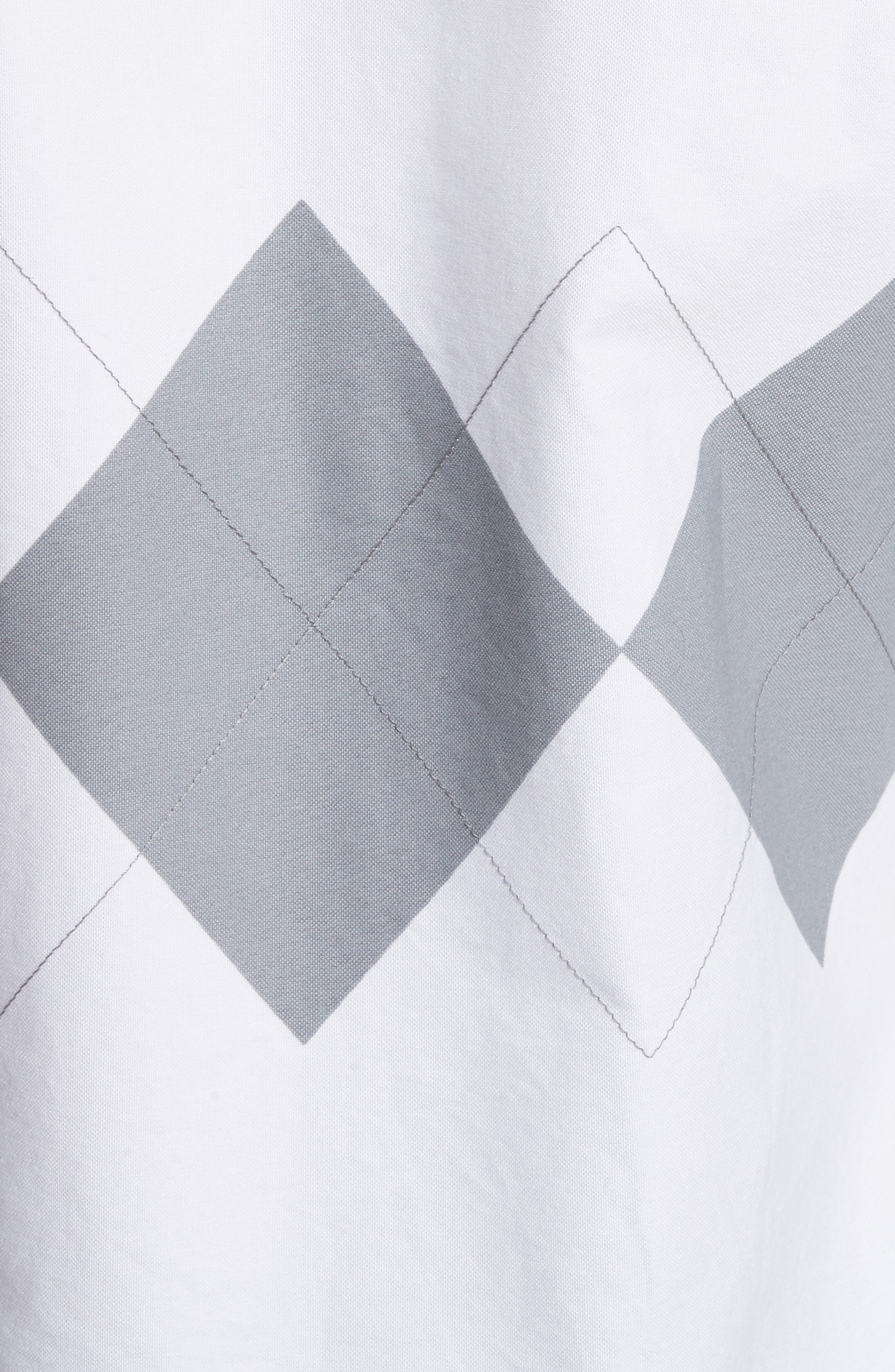 Argyle Print Woven Shirt,                             Alternate thumbnail 5, color,                             White