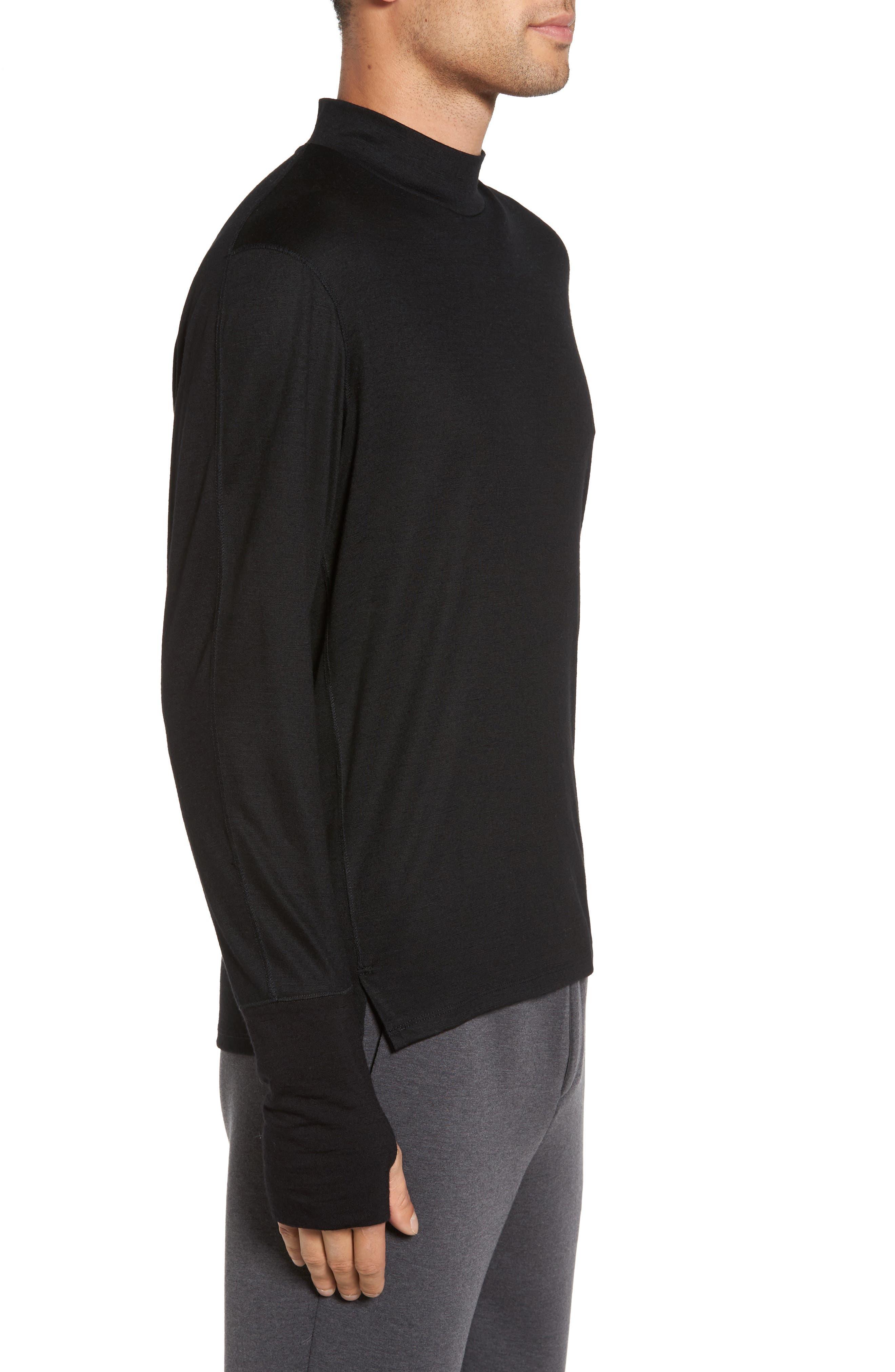 Mock Neck Thumbhole Wool T-Shirt,                             Alternate thumbnail 3, color,                             Black