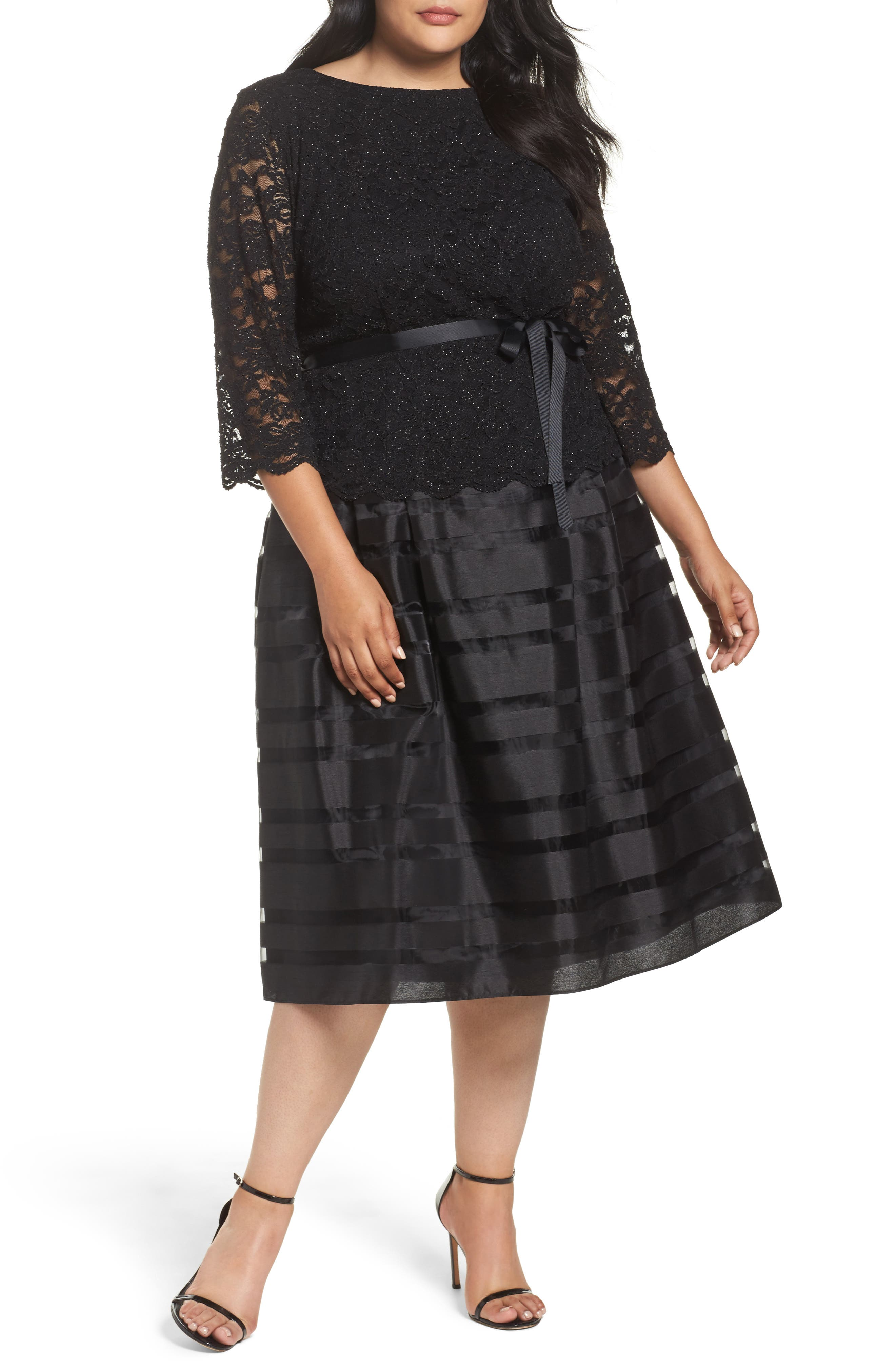 Mock Two-Piece A-Line Midi Dress,                         Main,                         color, Black