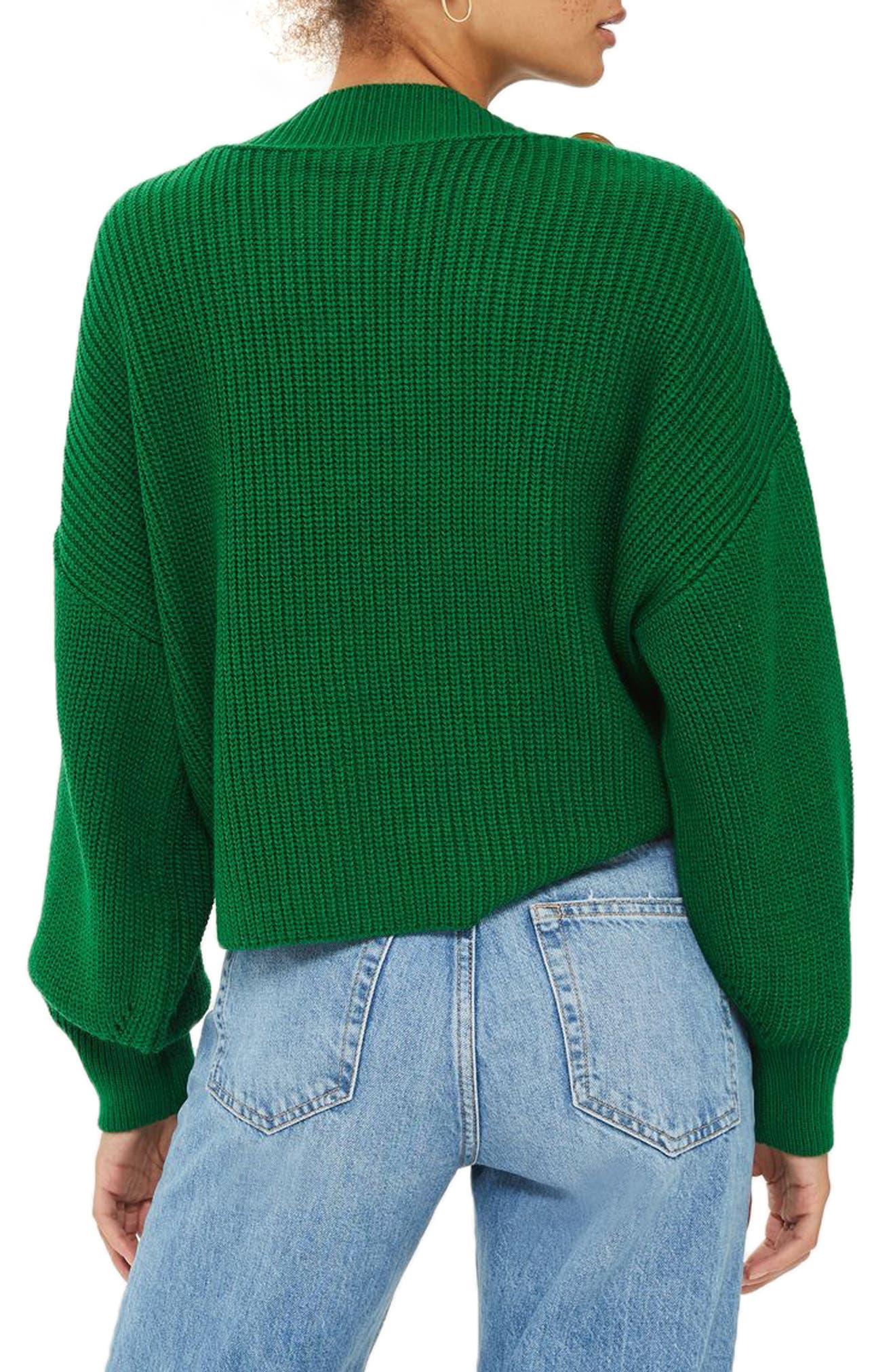 Button Slash Knit Sweater,                             Alternate thumbnail 2, color,                             Green