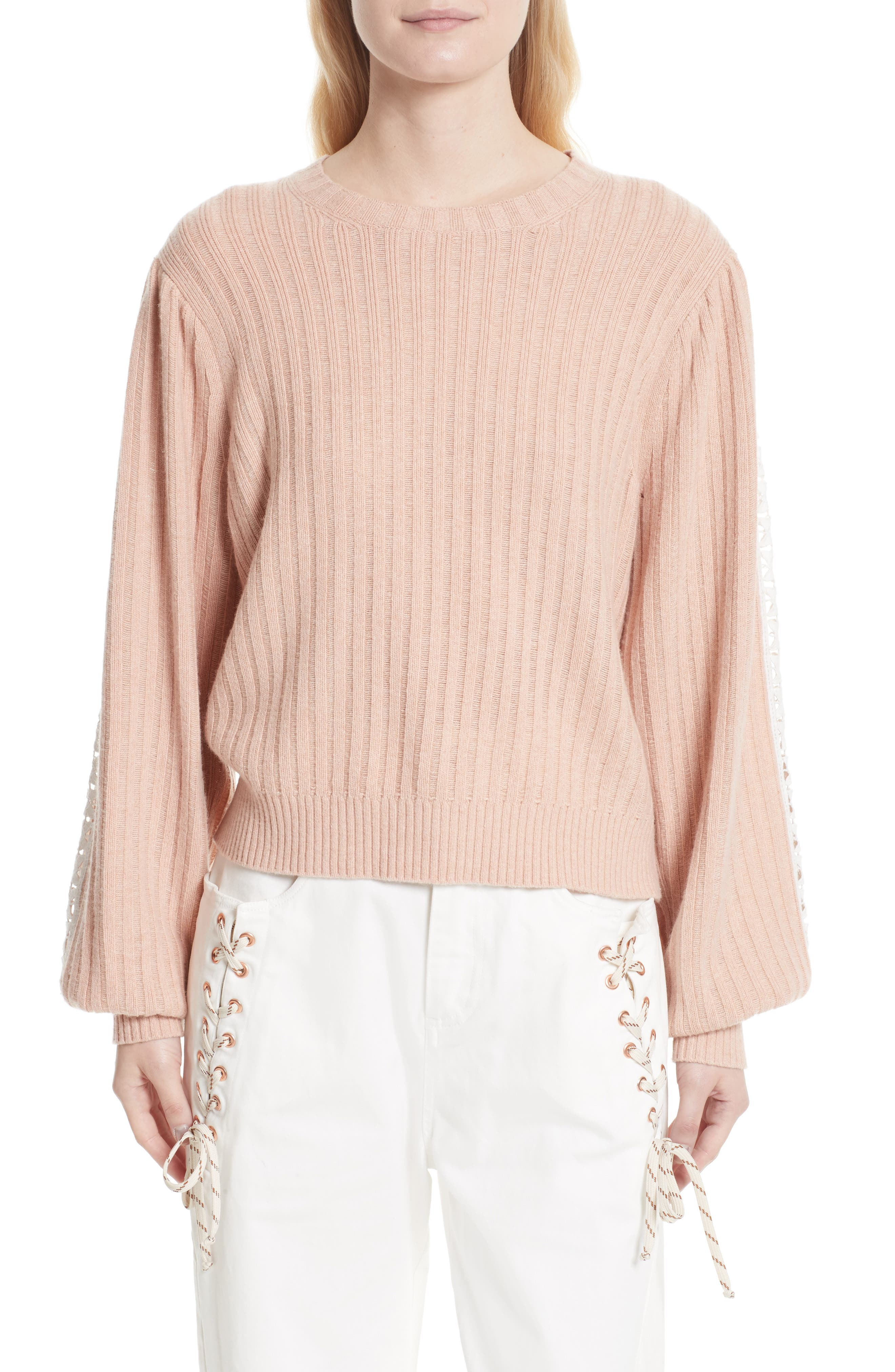 See by Chloé Ribbed Lace Trim Sweater