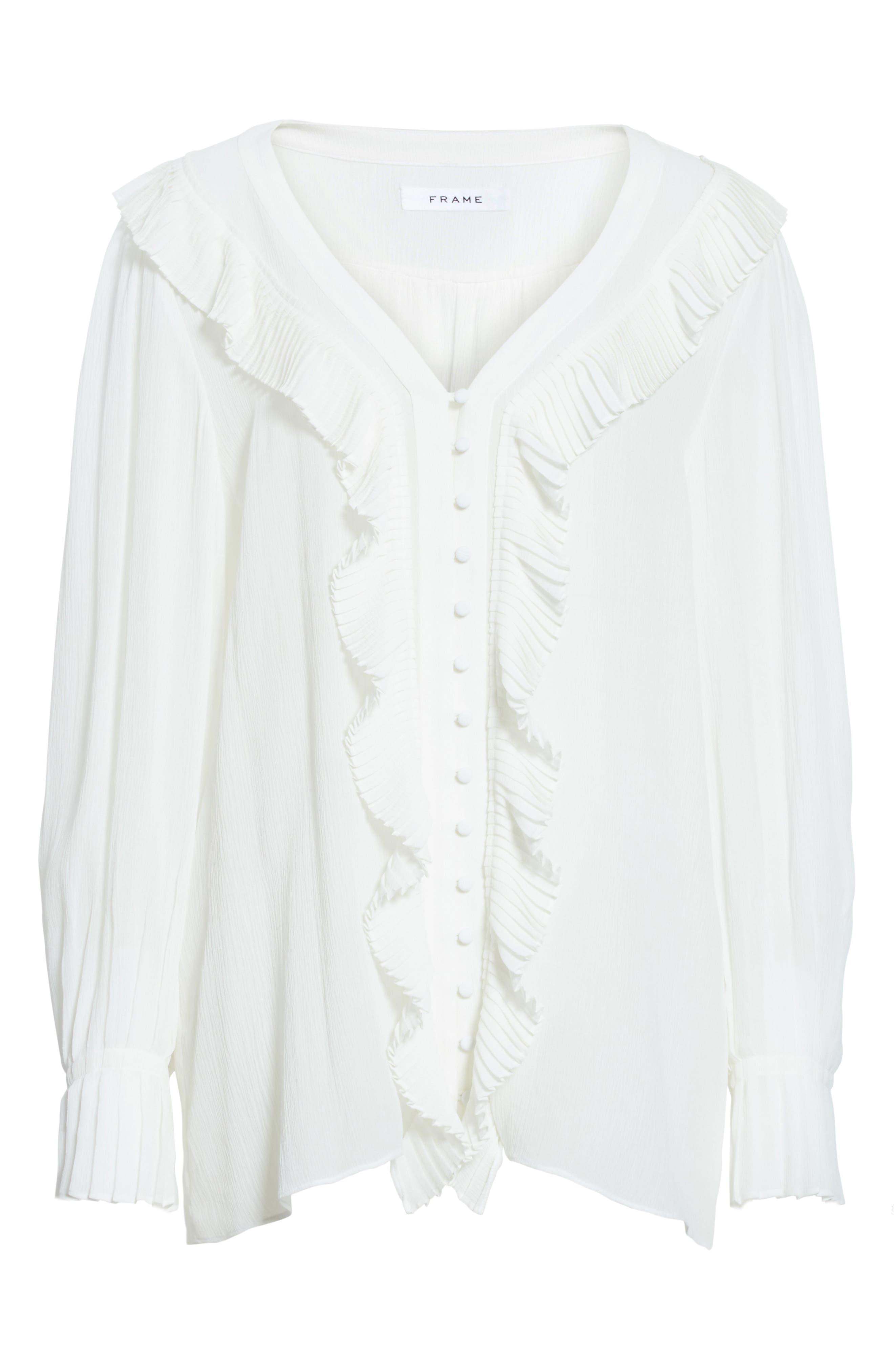 Ruffle Silk Blouse,                             Alternate thumbnail 7, color,                             Off White