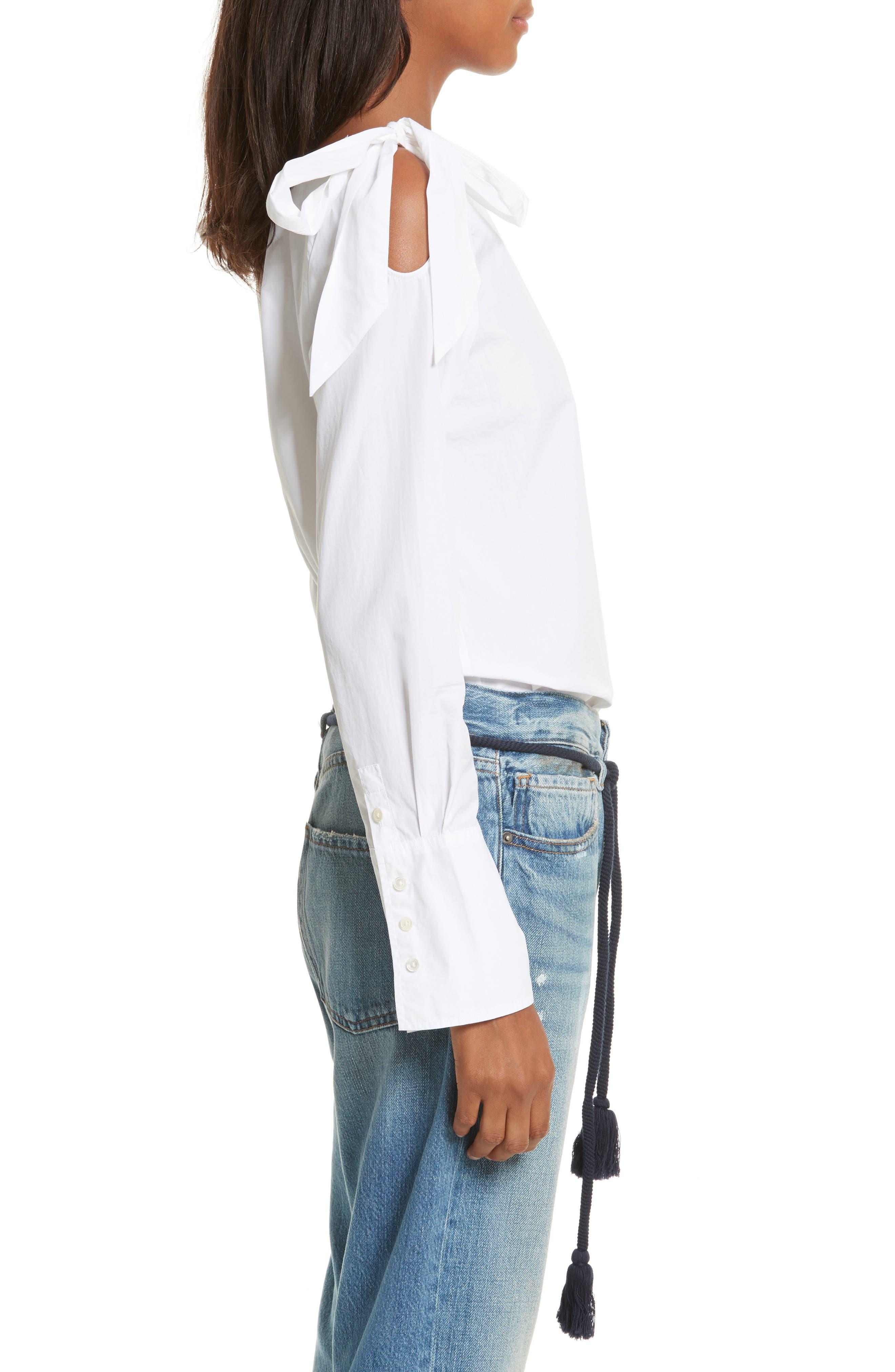 Alternate Image 4  - FRAME Bow Cold Shoulder Cotton Blouse