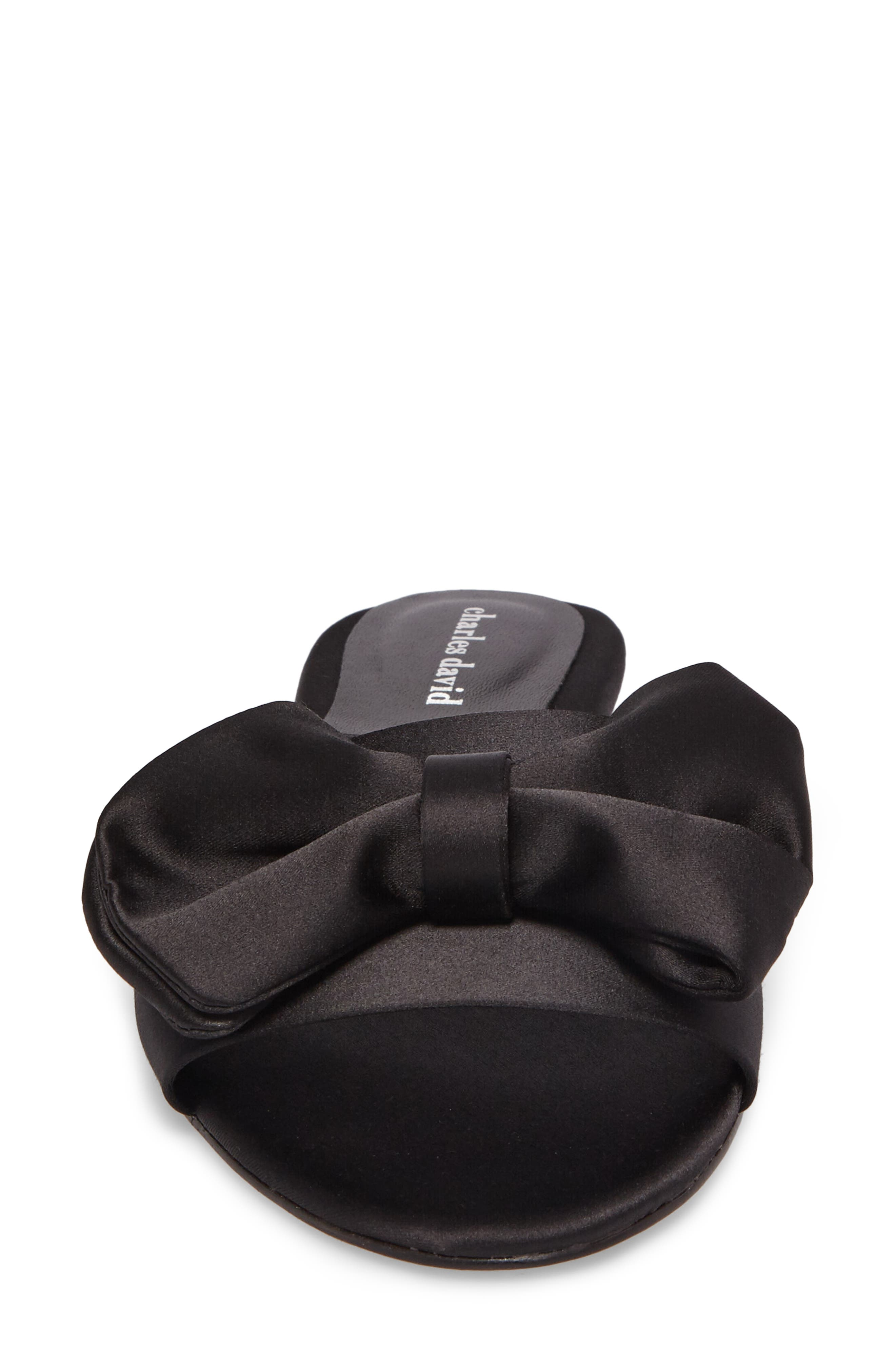 Bow Slide Sandal,                             Alternate thumbnail 4, color,                             Black Satin