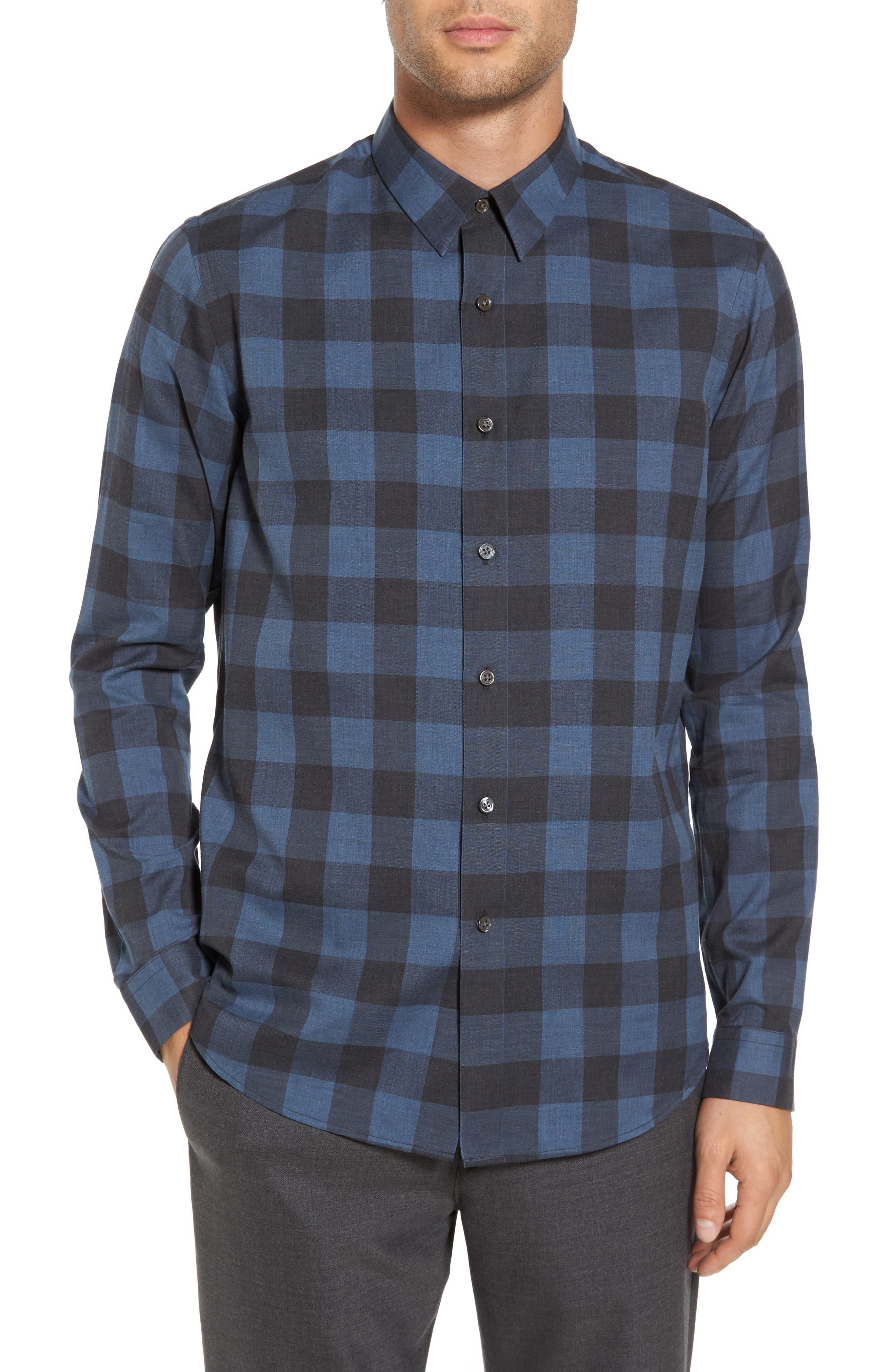 Trim Fit Check Sport Shirt,                         Main,                         color, River Multi