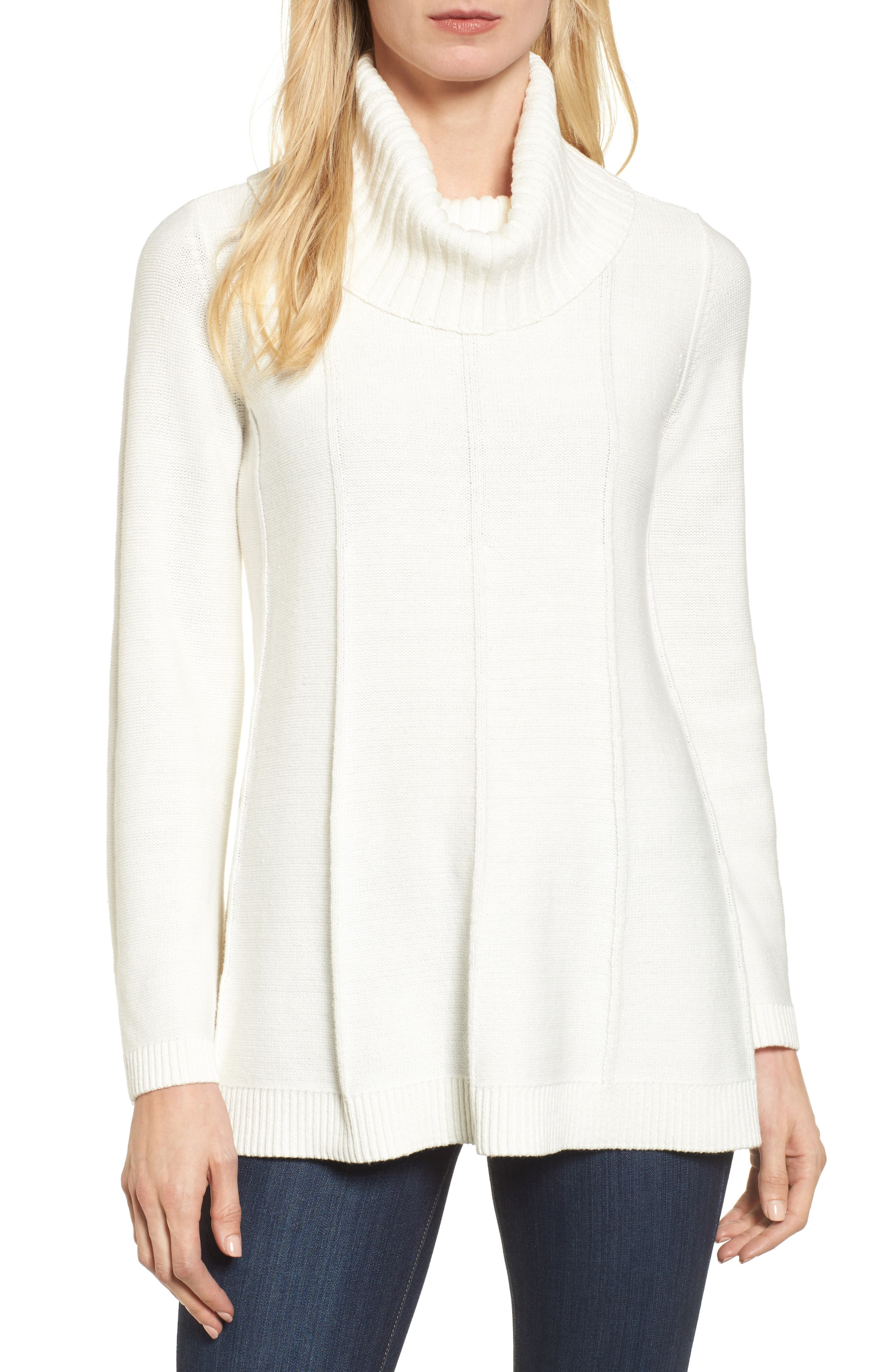 Chaus Cowl Neck Bell Sleeve Ribbed Sweater