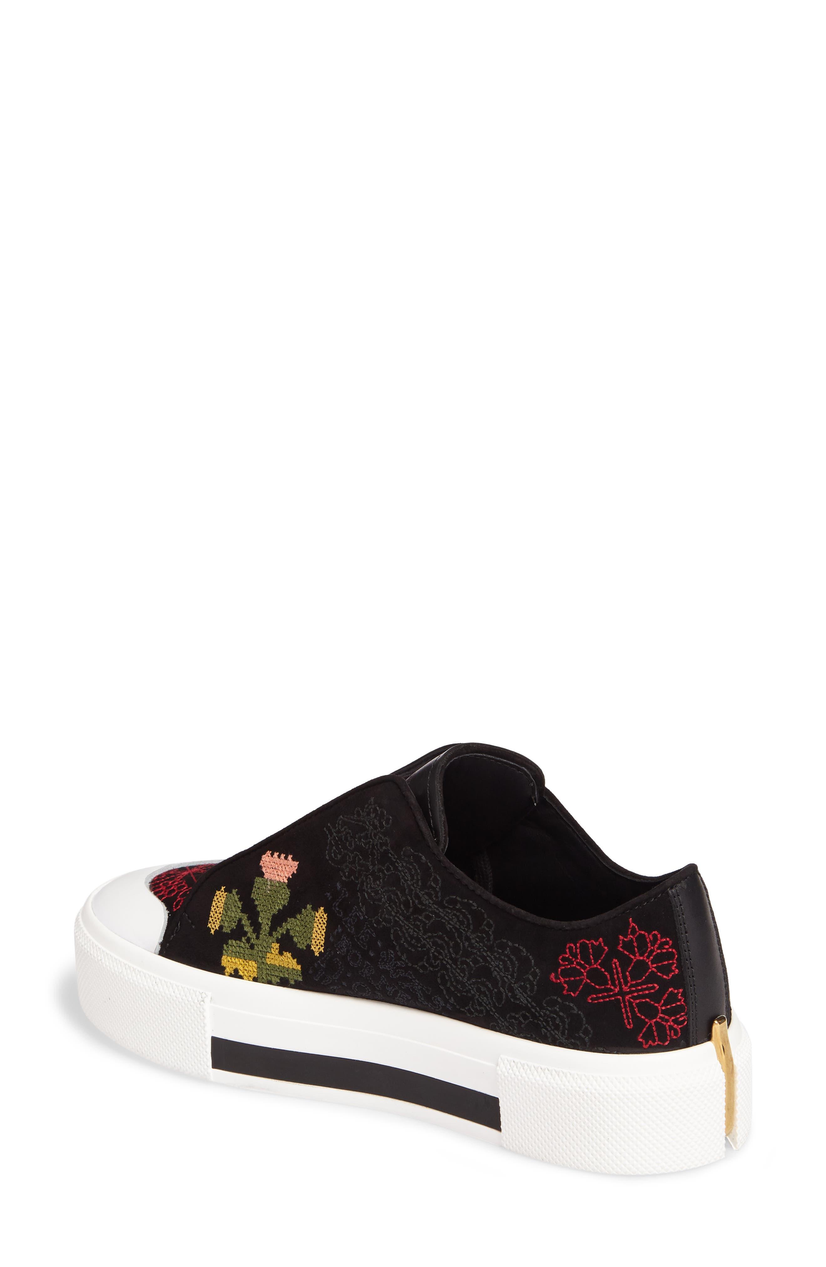 Cap Toe Platform Sneaker,                             Alternate thumbnail 2, color,                             Black/ Red