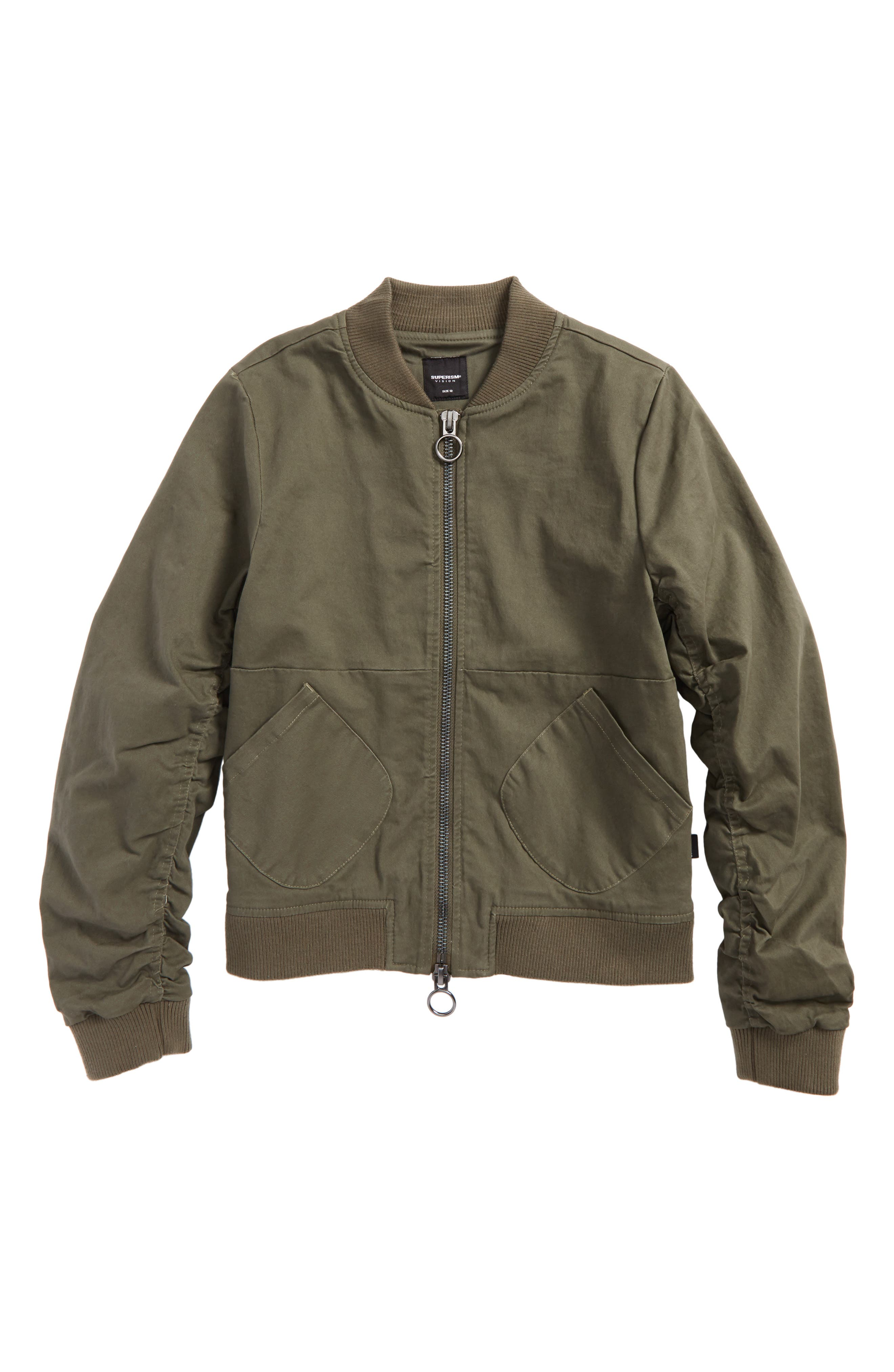 Charlie Twill Bomber Jacket,                             Main thumbnail 1, color,                             Olive