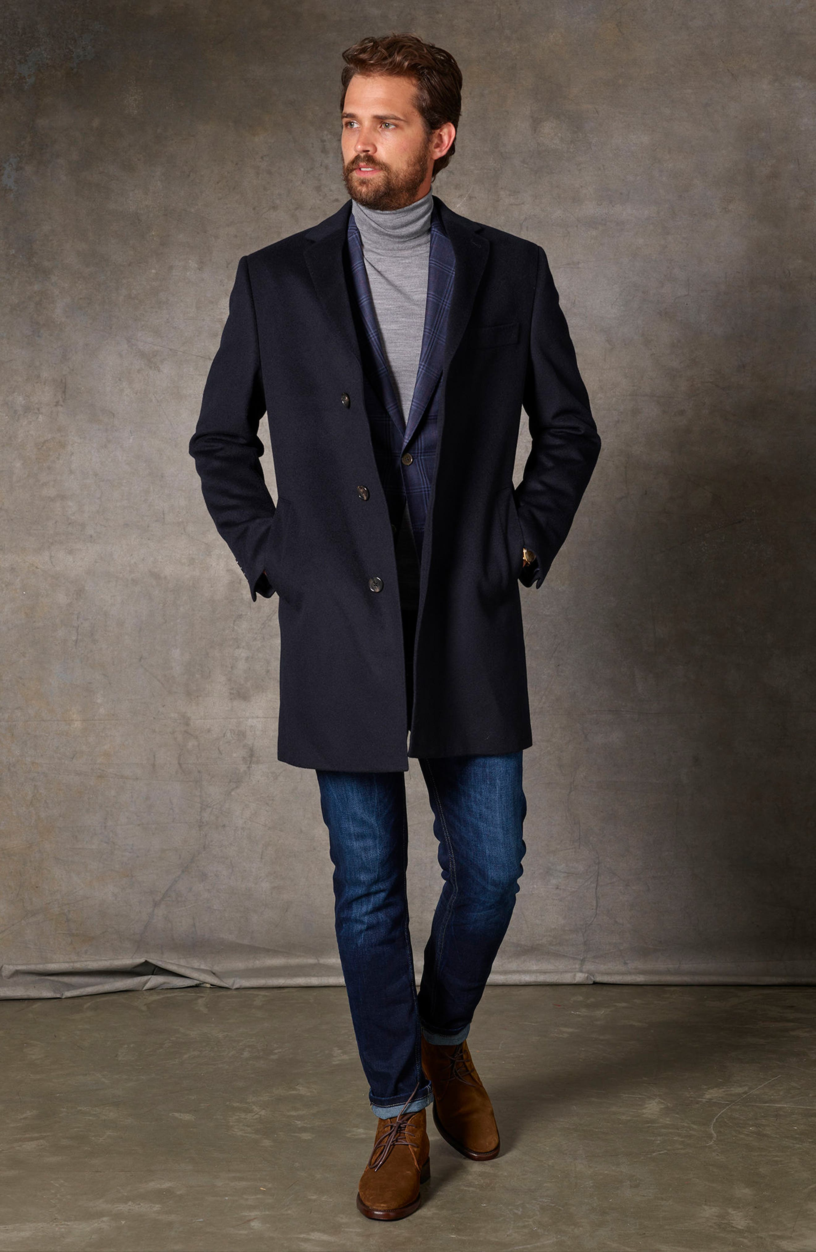 St. Paul Wool & Cashmere Topcoat,                             Alternate thumbnail 6, color,                             Navy