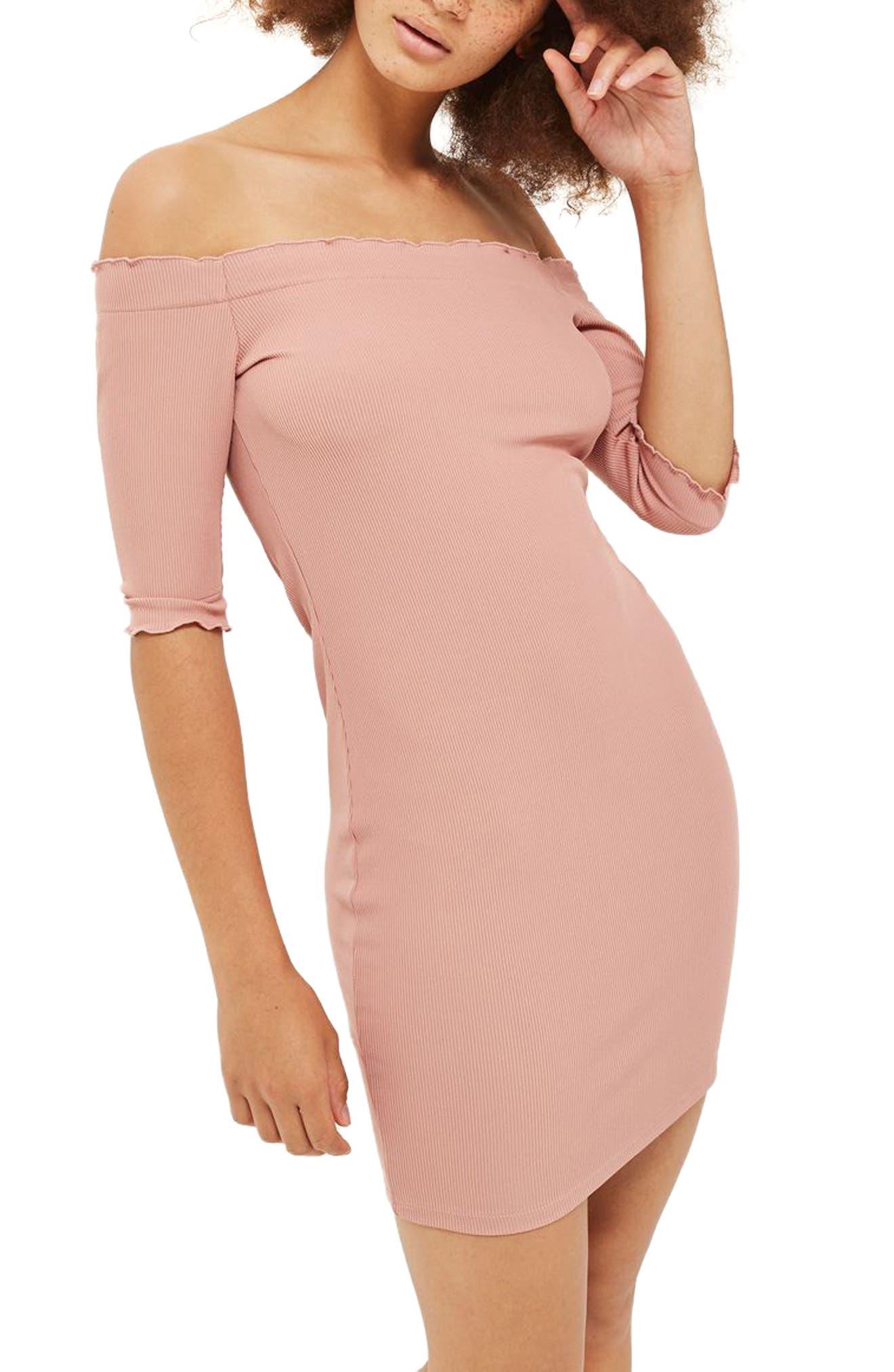 Topshop Frill Off the Shoulder Minidress