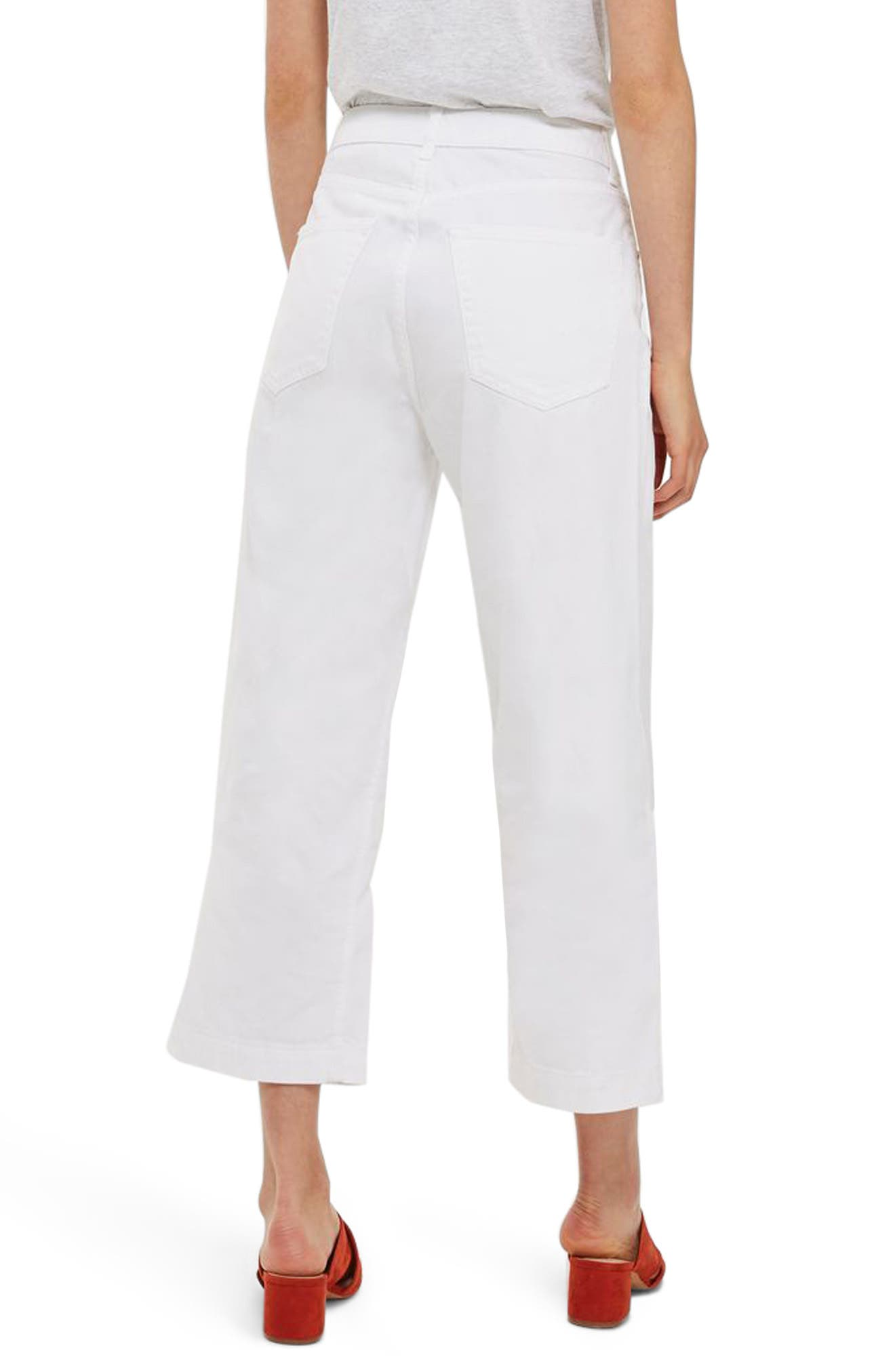 Wide Leg Cropped Jeans,                             Alternate thumbnail 3, color,                             White