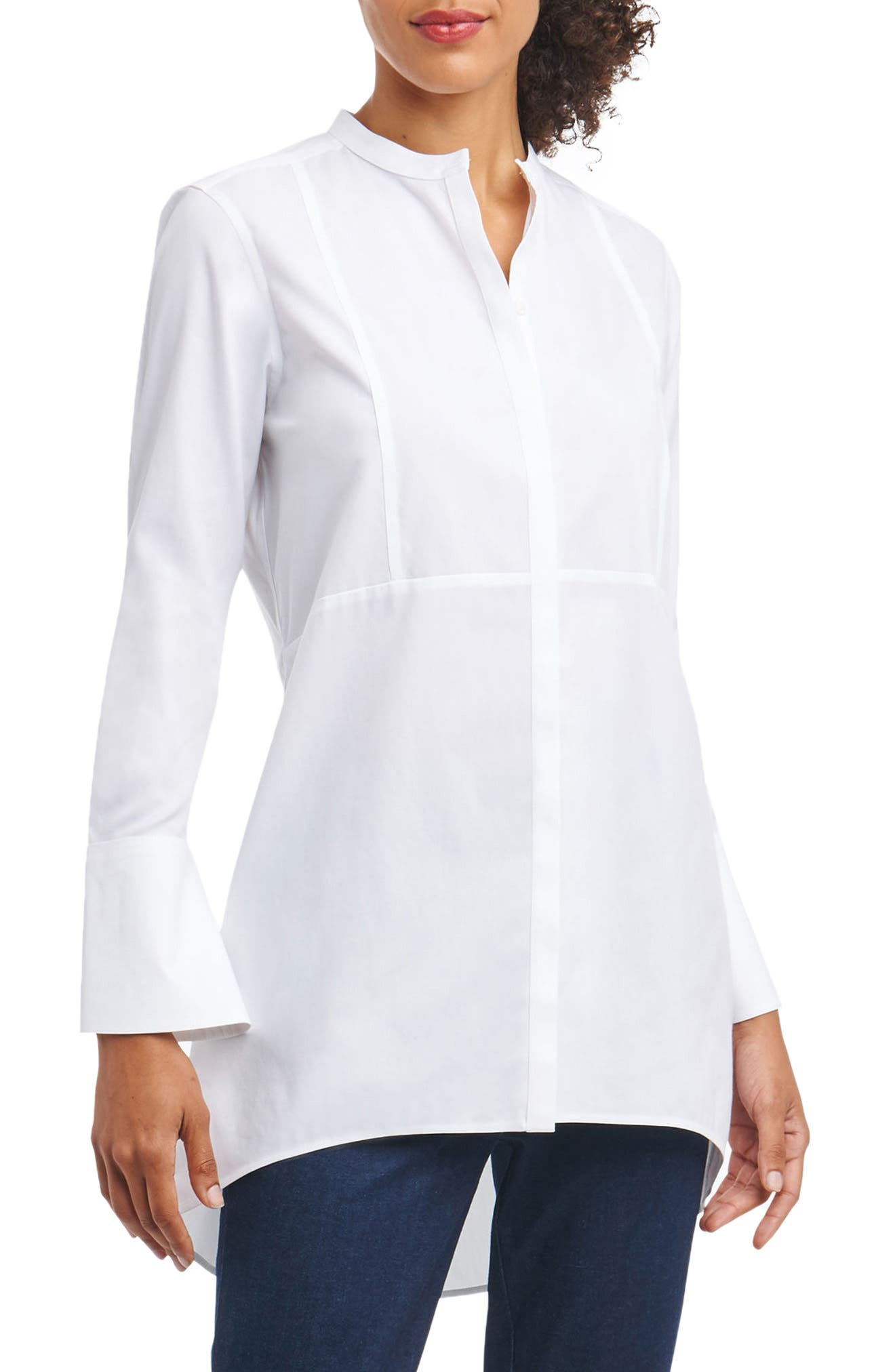Foxcroft Cally Non-Iron Stretch Cotton Tunic Shirt