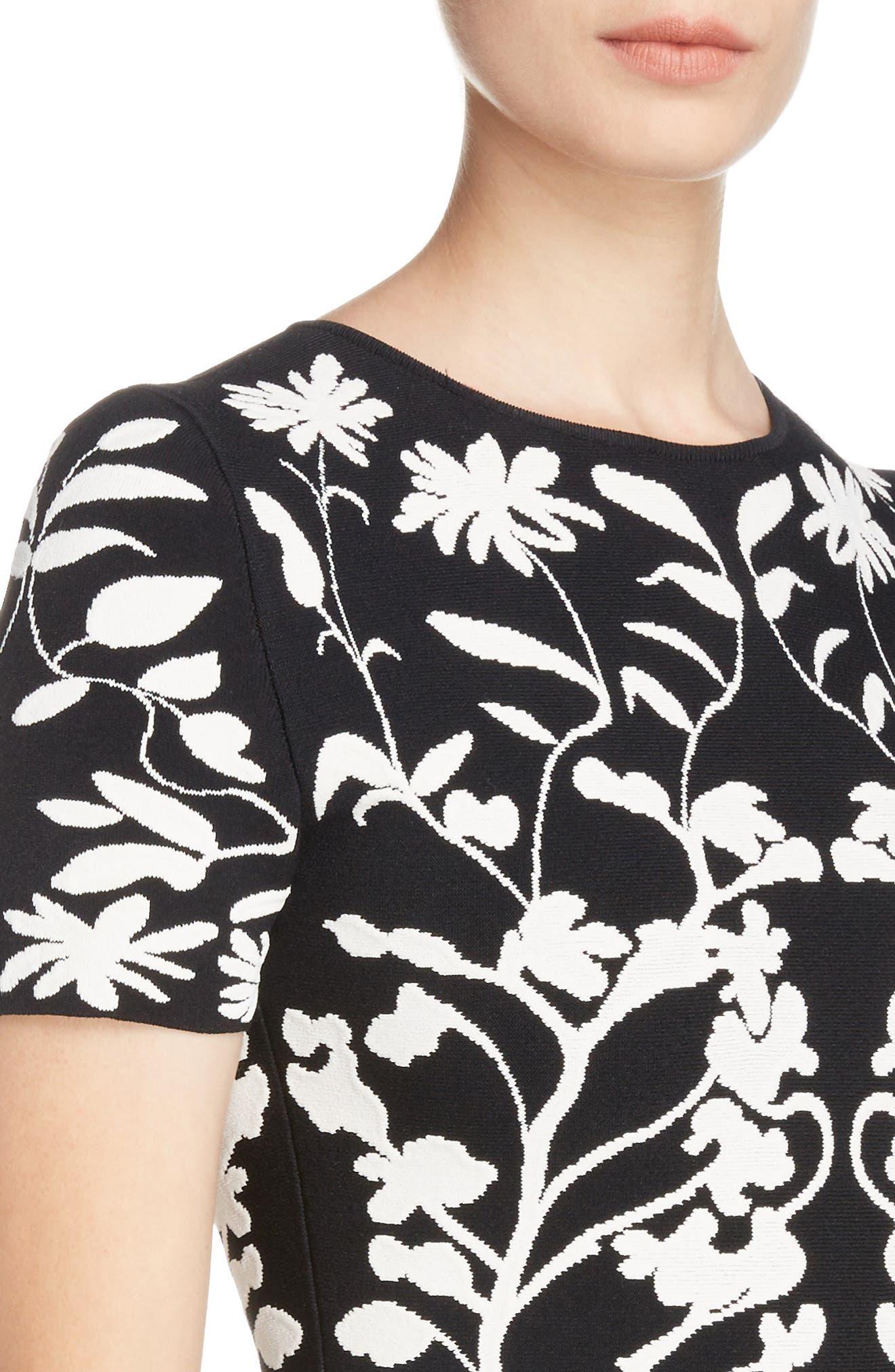Botanical Jacquard Knit Flounce Dress,                             Alternate thumbnail 4, color,                             Black/ Ivory
