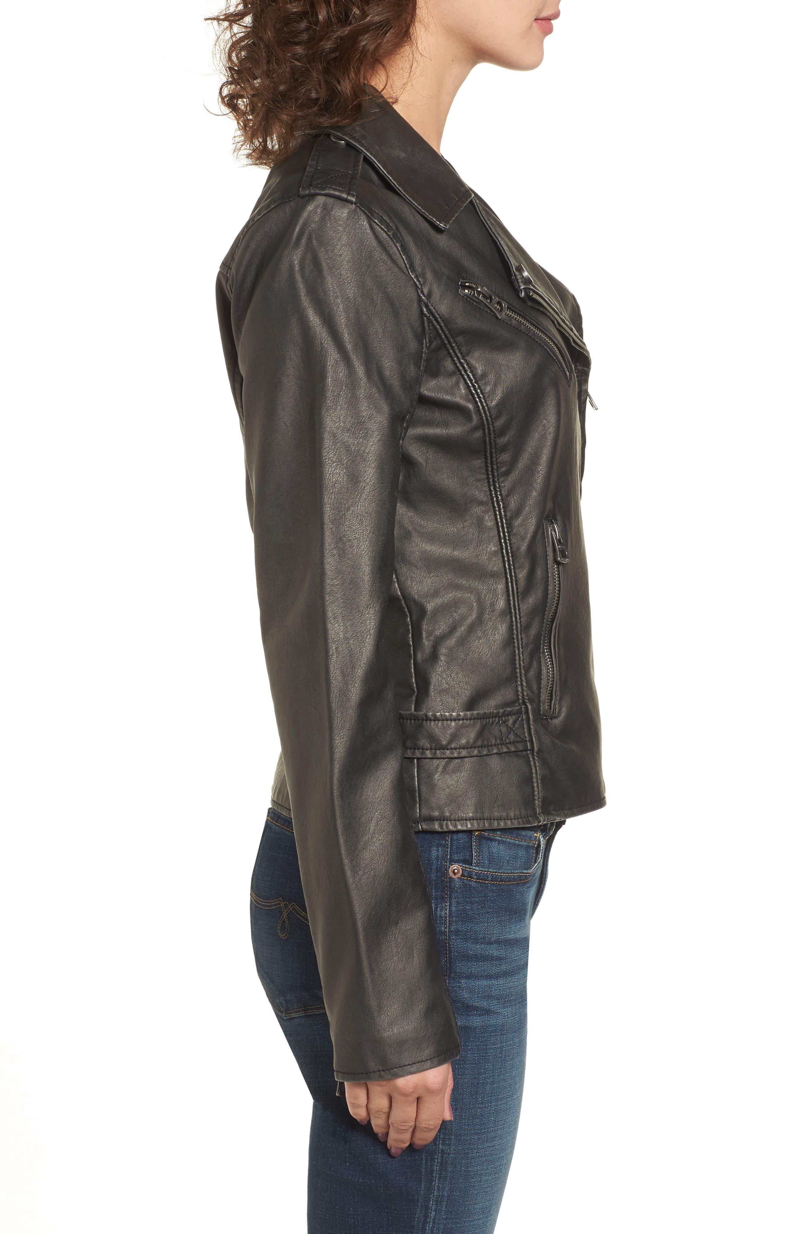 Faux Leather Jacket,                             Alternate thumbnail 3, color,                             Grey