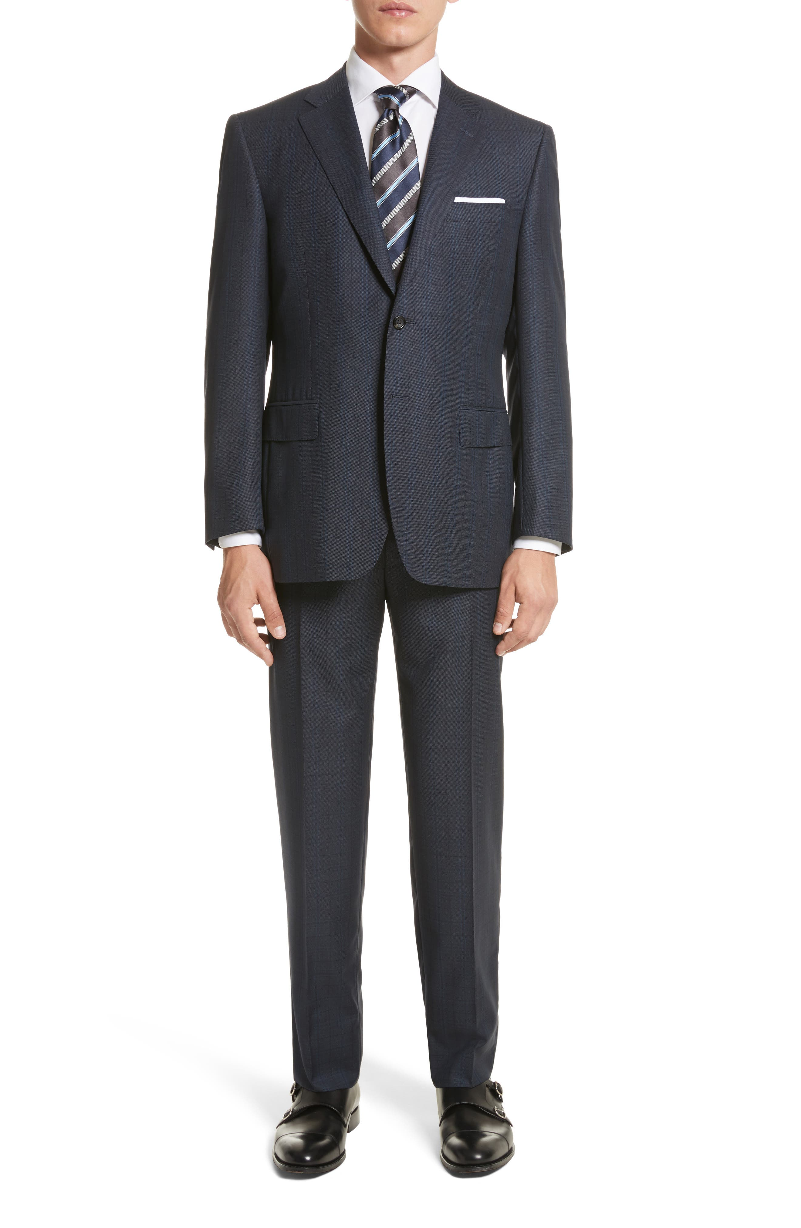 Classic Fit Check Wool Suit,                             Main thumbnail 1, color,                             Blue