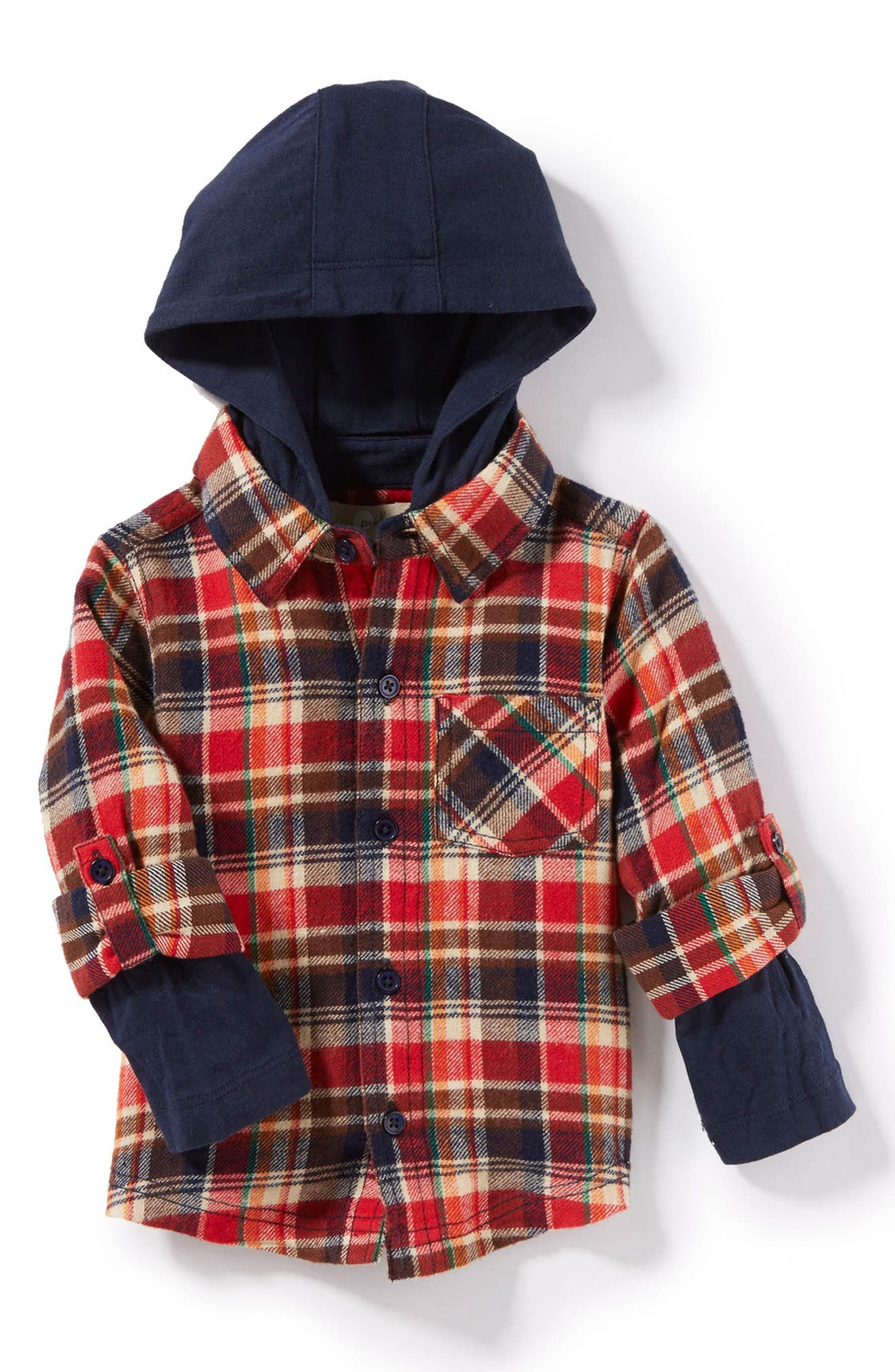 Peek Ace Plaid Hooded Shirt (Baby Boys)