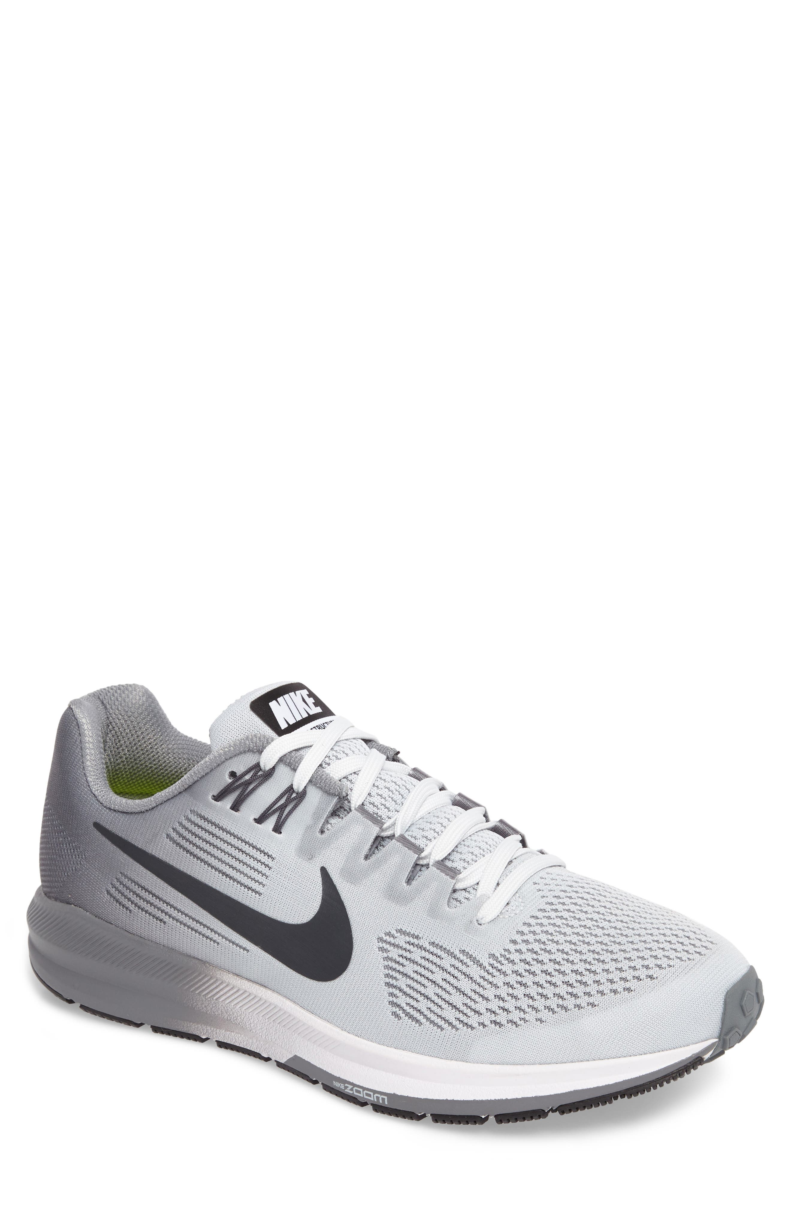 Air Zoom Structure 21 Running Shoe,                             Main thumbnail 1, color,                             Platinum/Anthracite/Cool Grey