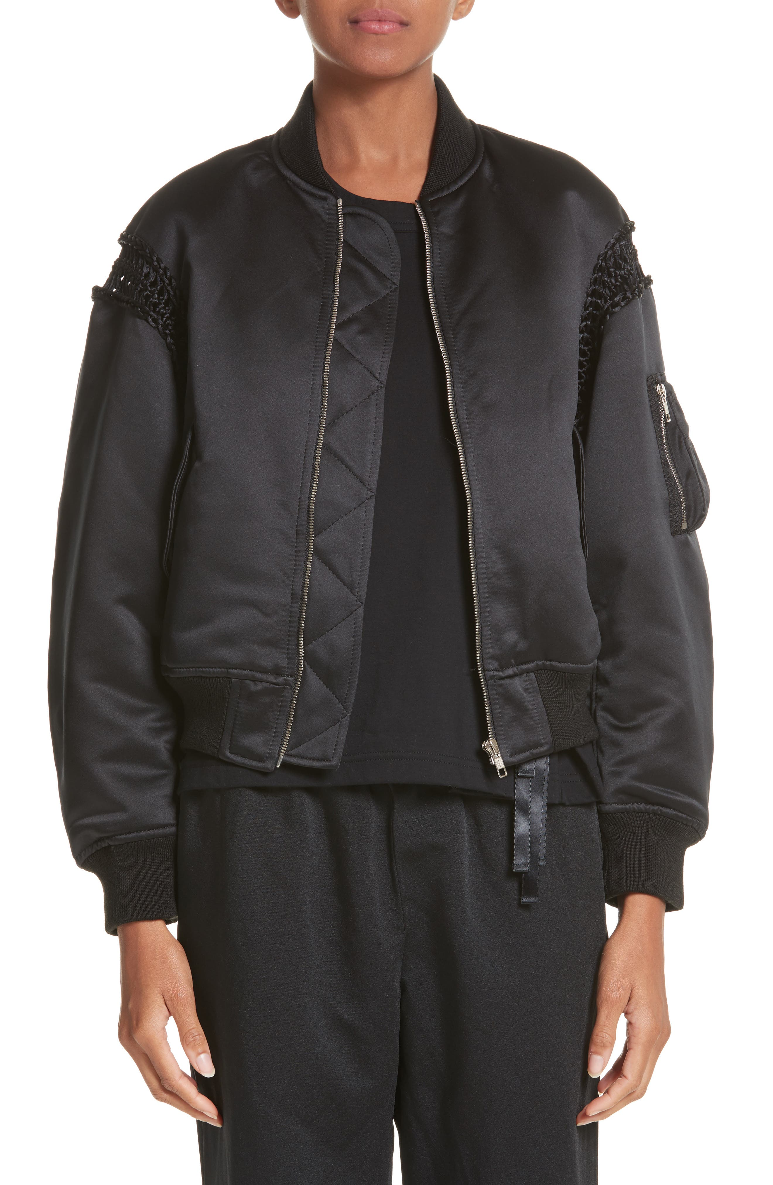 Alternate Image 1 Selected - noir kei ninomiya Macramé Trim Satin Bomber Jacket