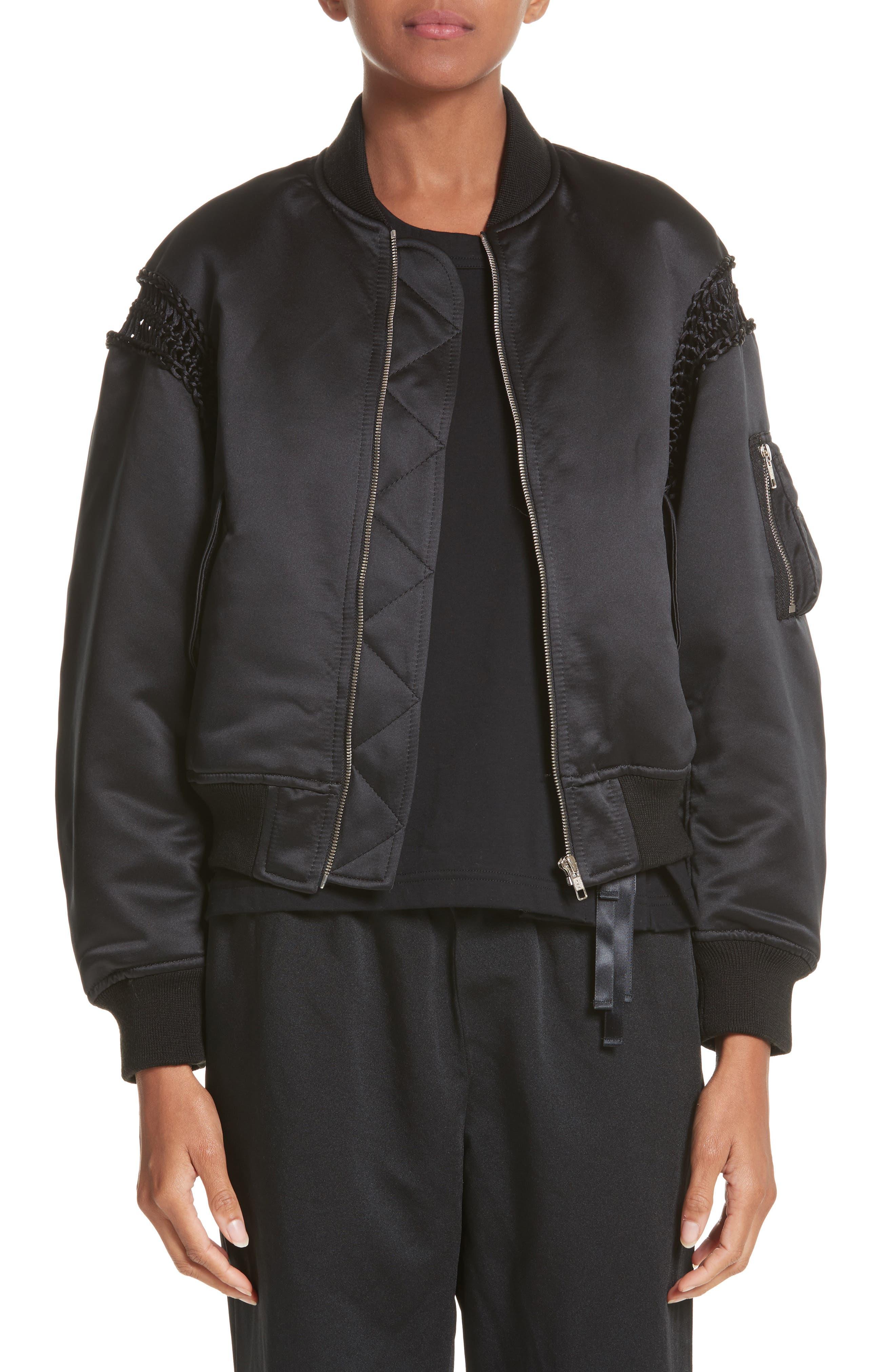 Macramé Trim Satin Bomber Jacket,                         Main,                         color, Black