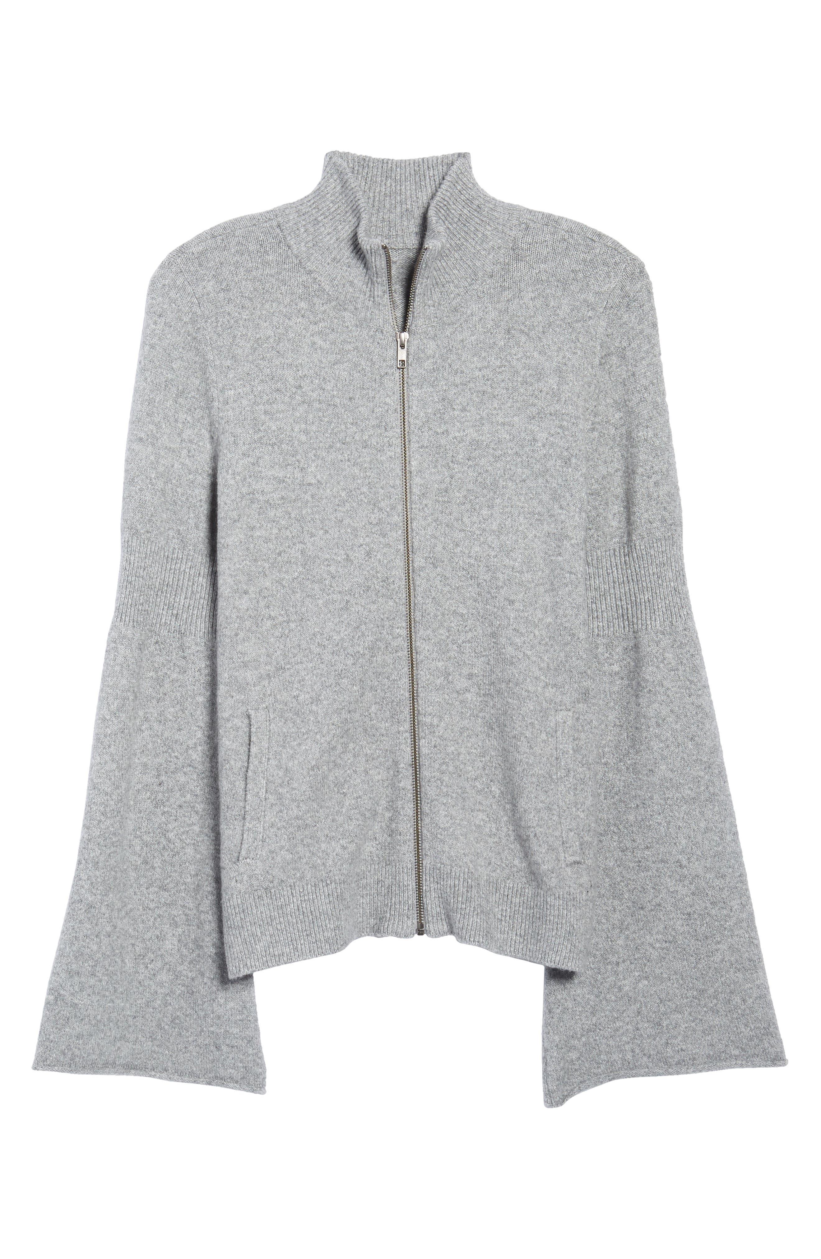 Flare Sleeve Track Jacket,                             Alternate thumbnail 6, color,                             Grey Heather
