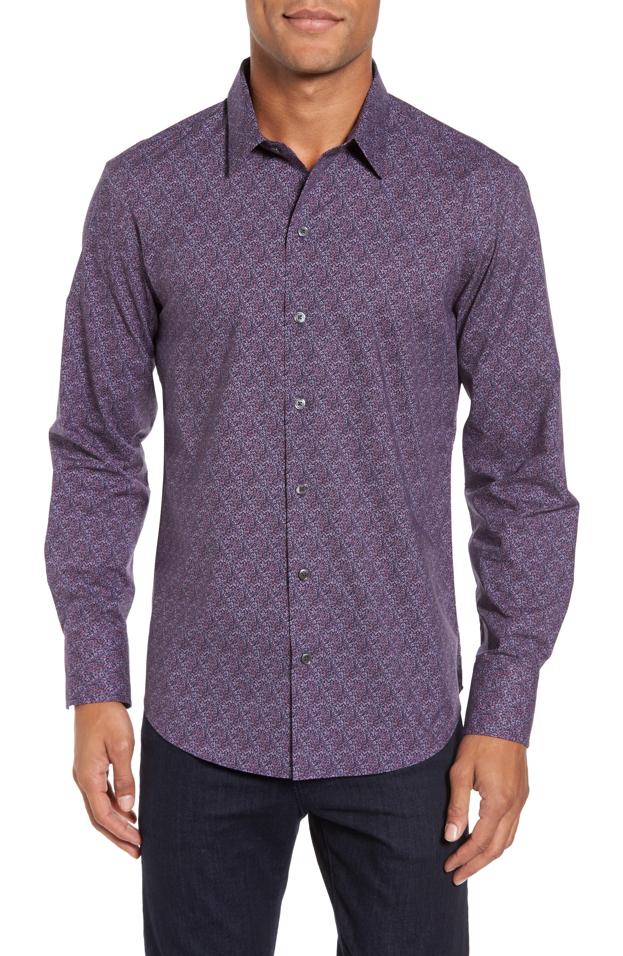 Cristobal Slim Fit Print Sport Shirt,                         Main,                         color, Purple