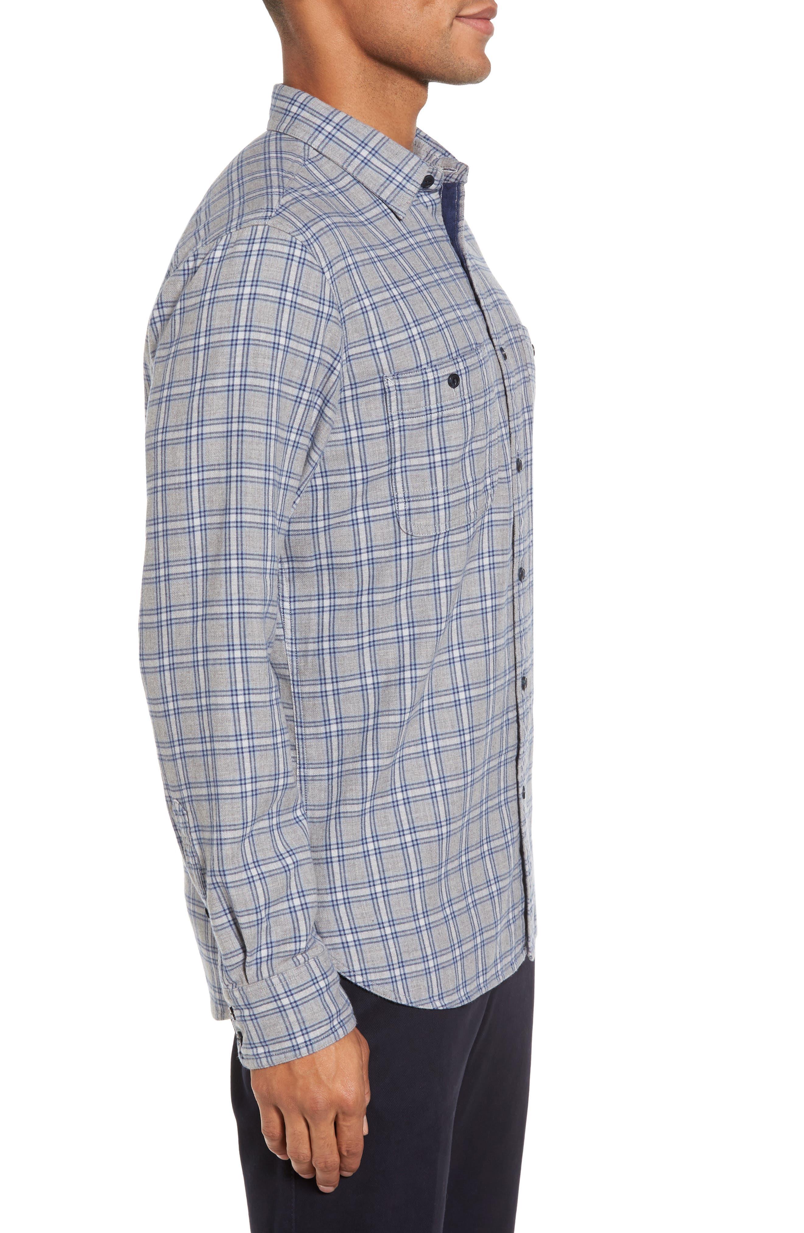 Workwear Duofold Check Sport Shirt,                             Alternate thumbnail 3, color,                             Navy Iris Grey Plaid Duofold