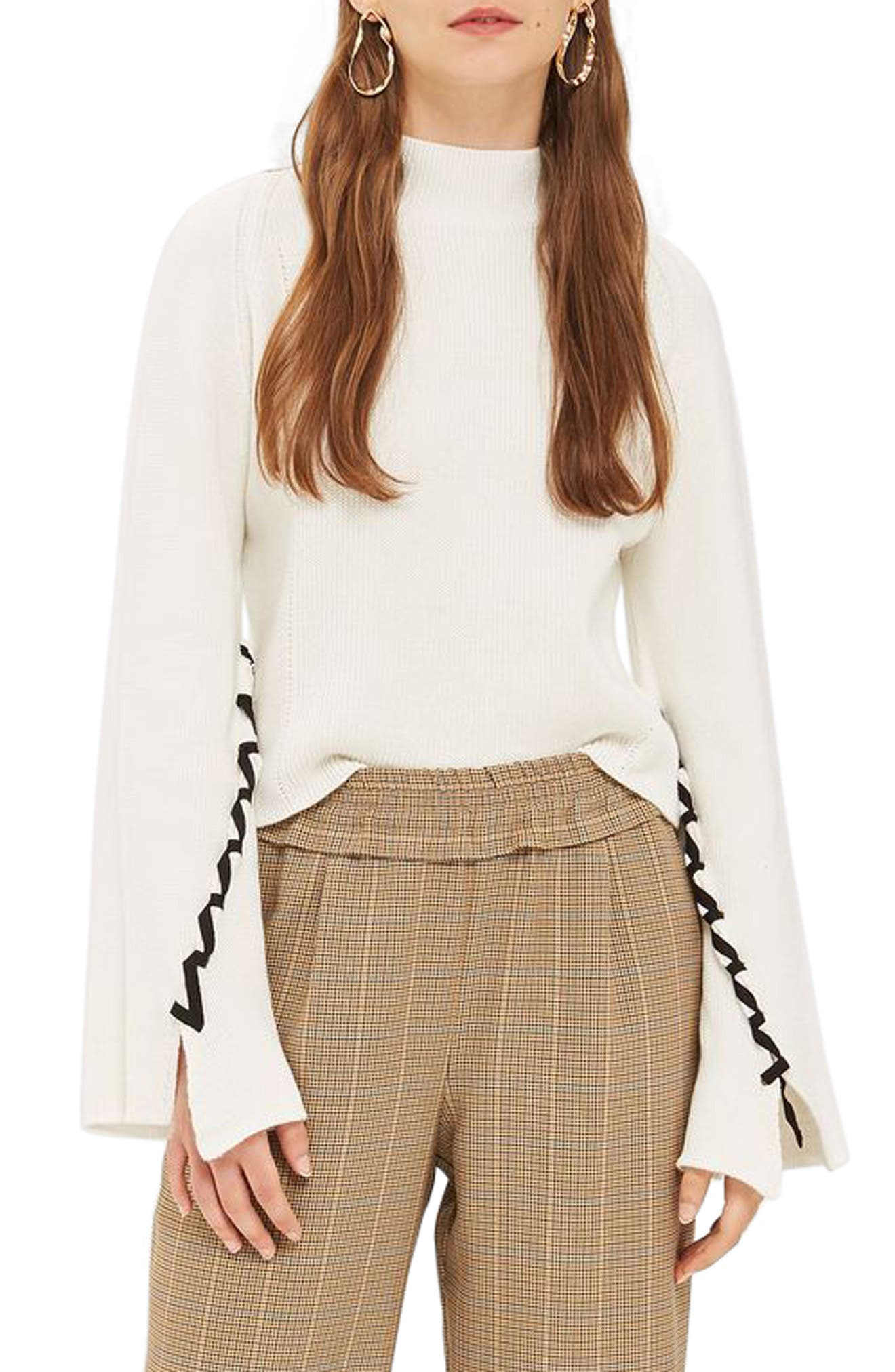 Lace-Up Sleeve Sweater,                         Main,                         color, Cream