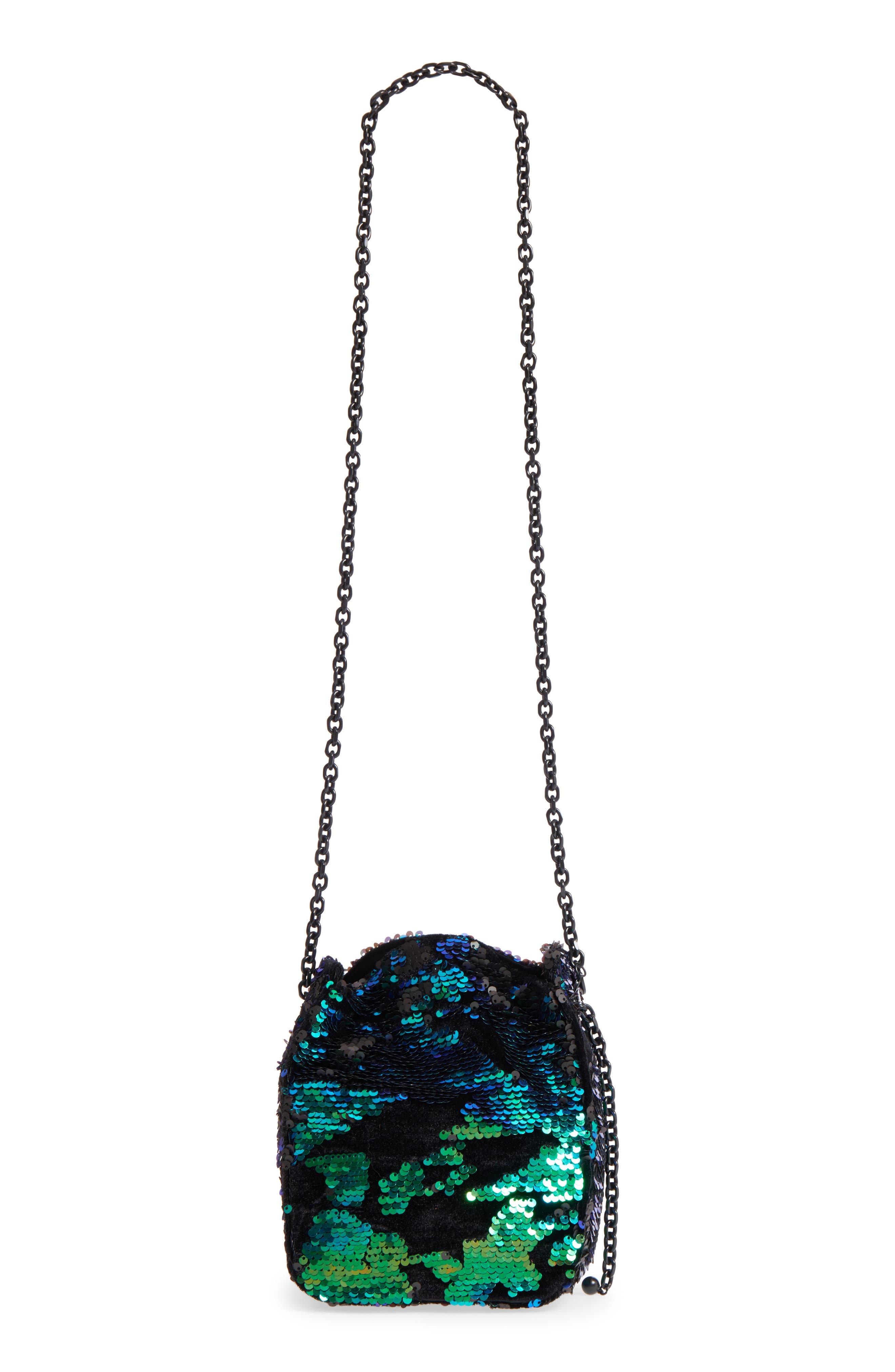 Amy Sequin Bucket Bag,                             Main thumbnail 1, color,                             Iridescent Sequins