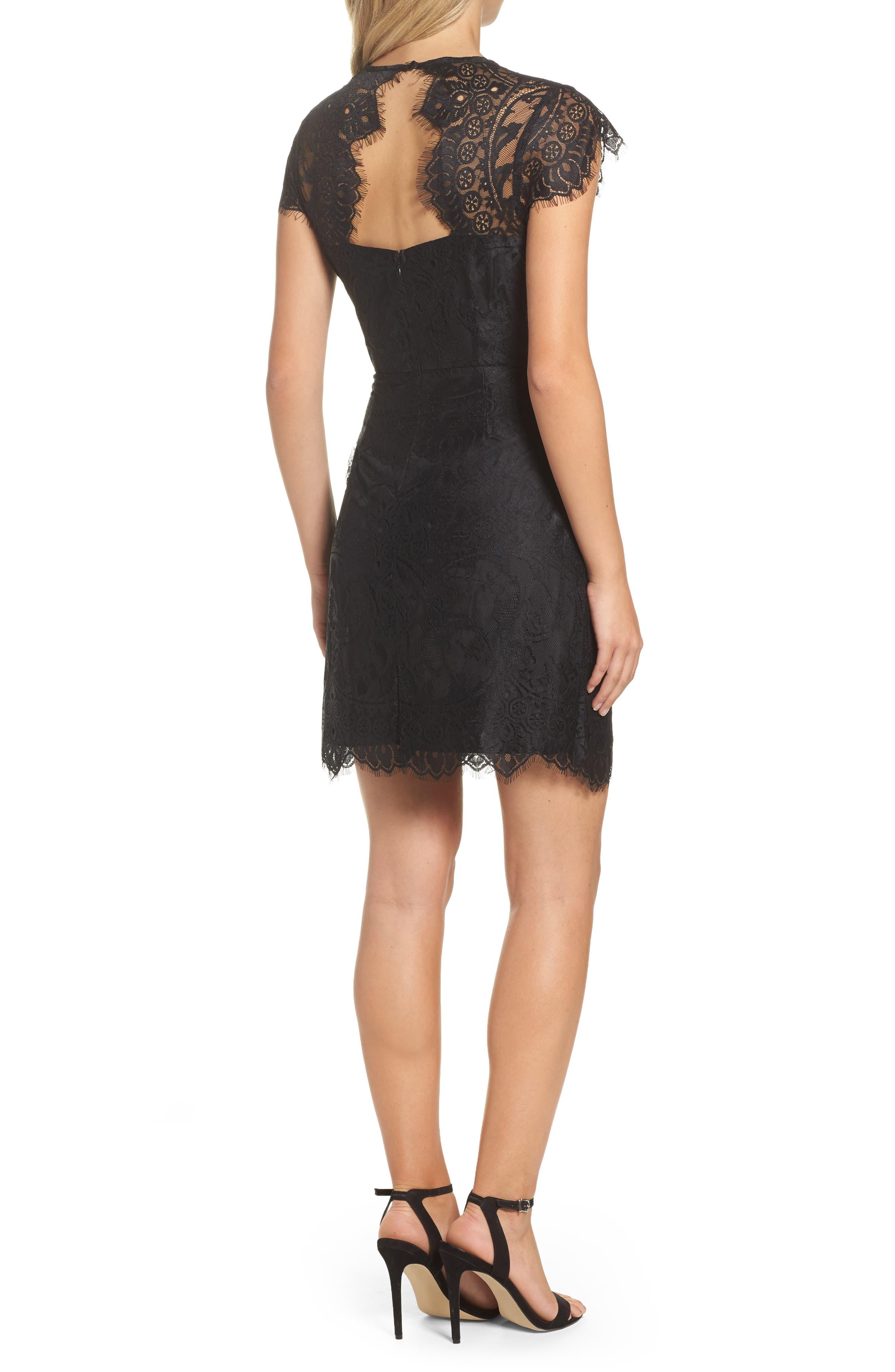 Jayce Lace Sheath Dress,                             Alternate thumbnail 2, color,                             Black