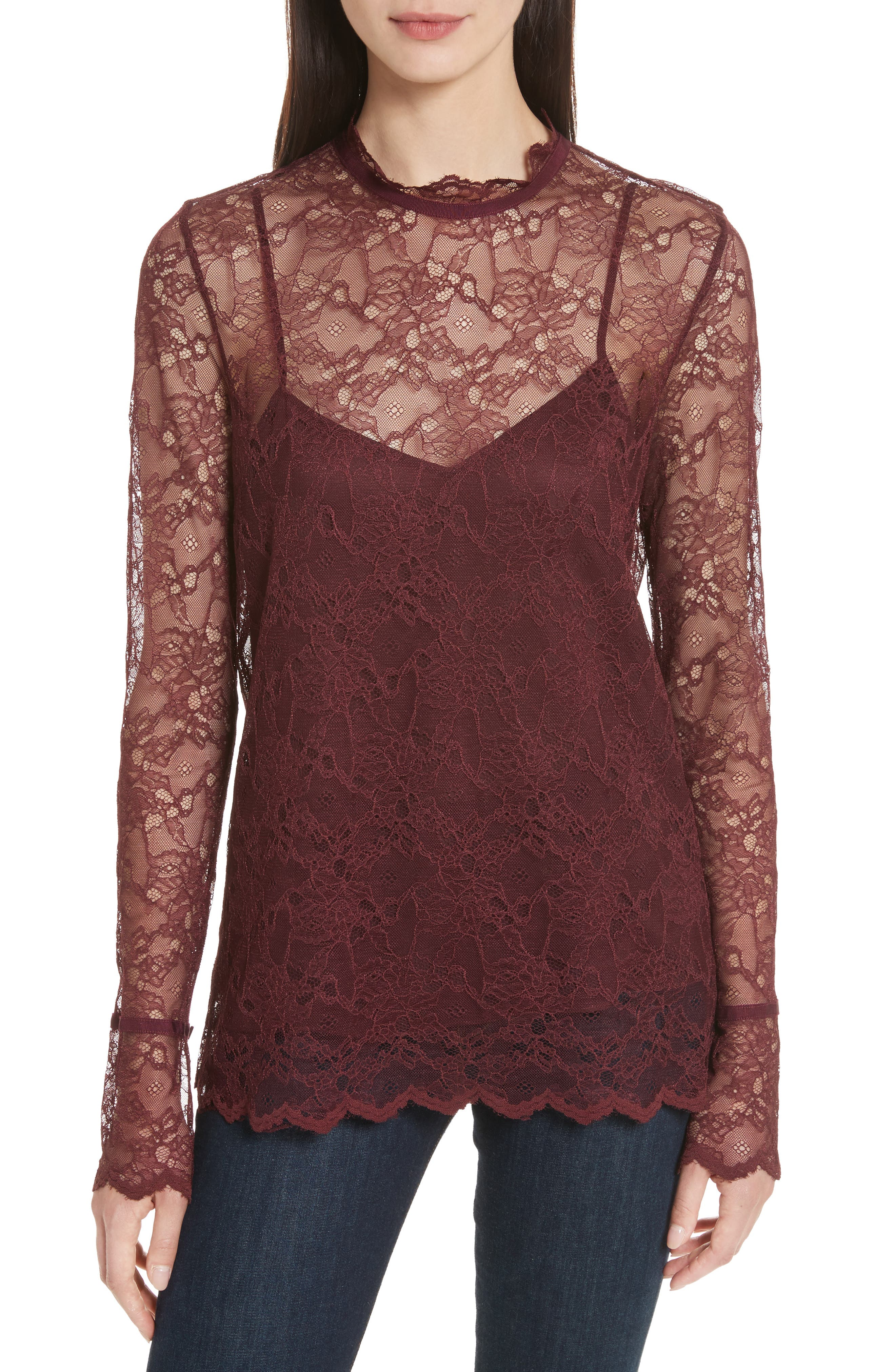Lace Top with Tank,                         Main,                         color, Dark Currant