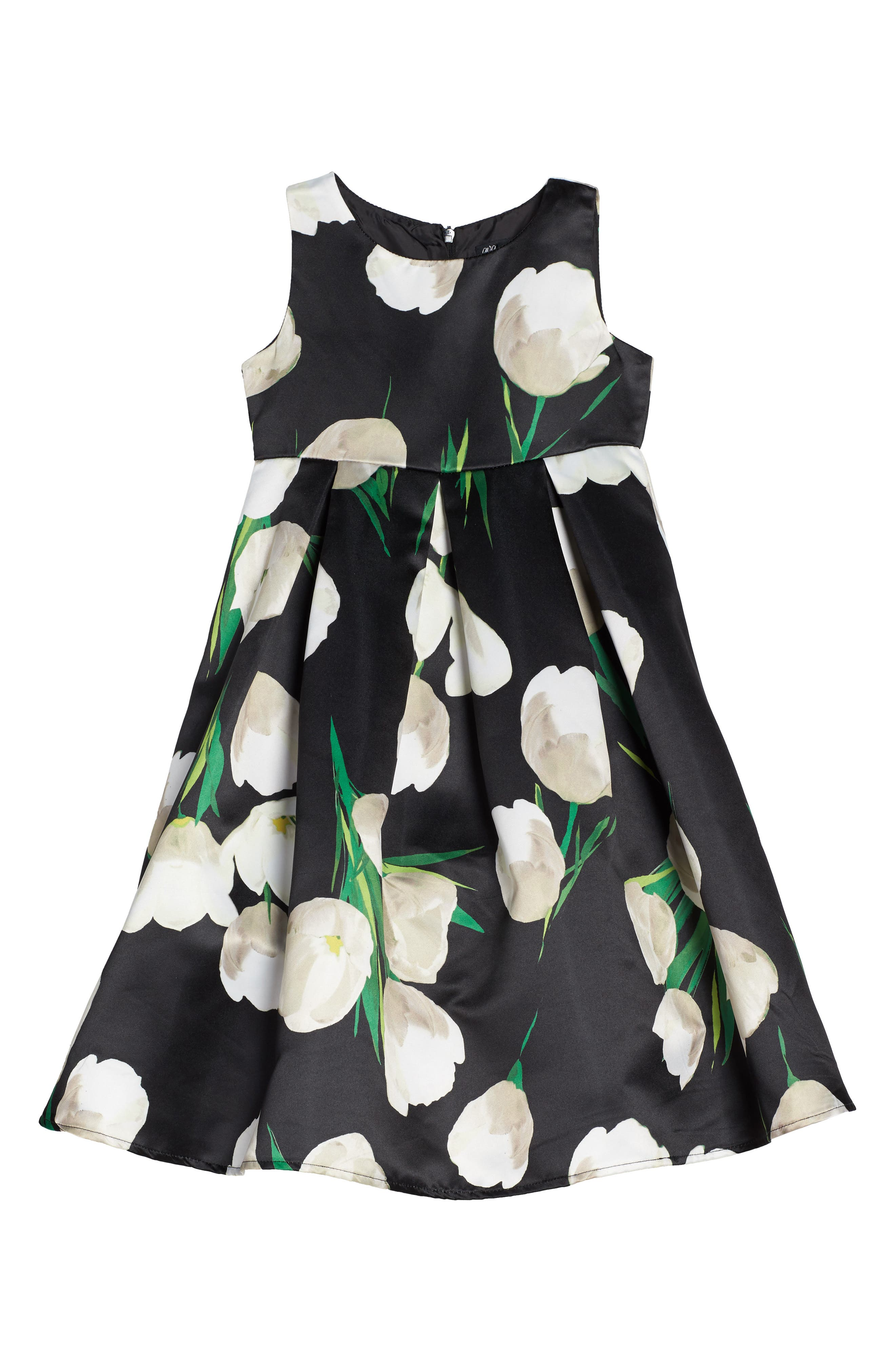 Tulip Print Dress,                             Main thumbnail 1, color,                             Black