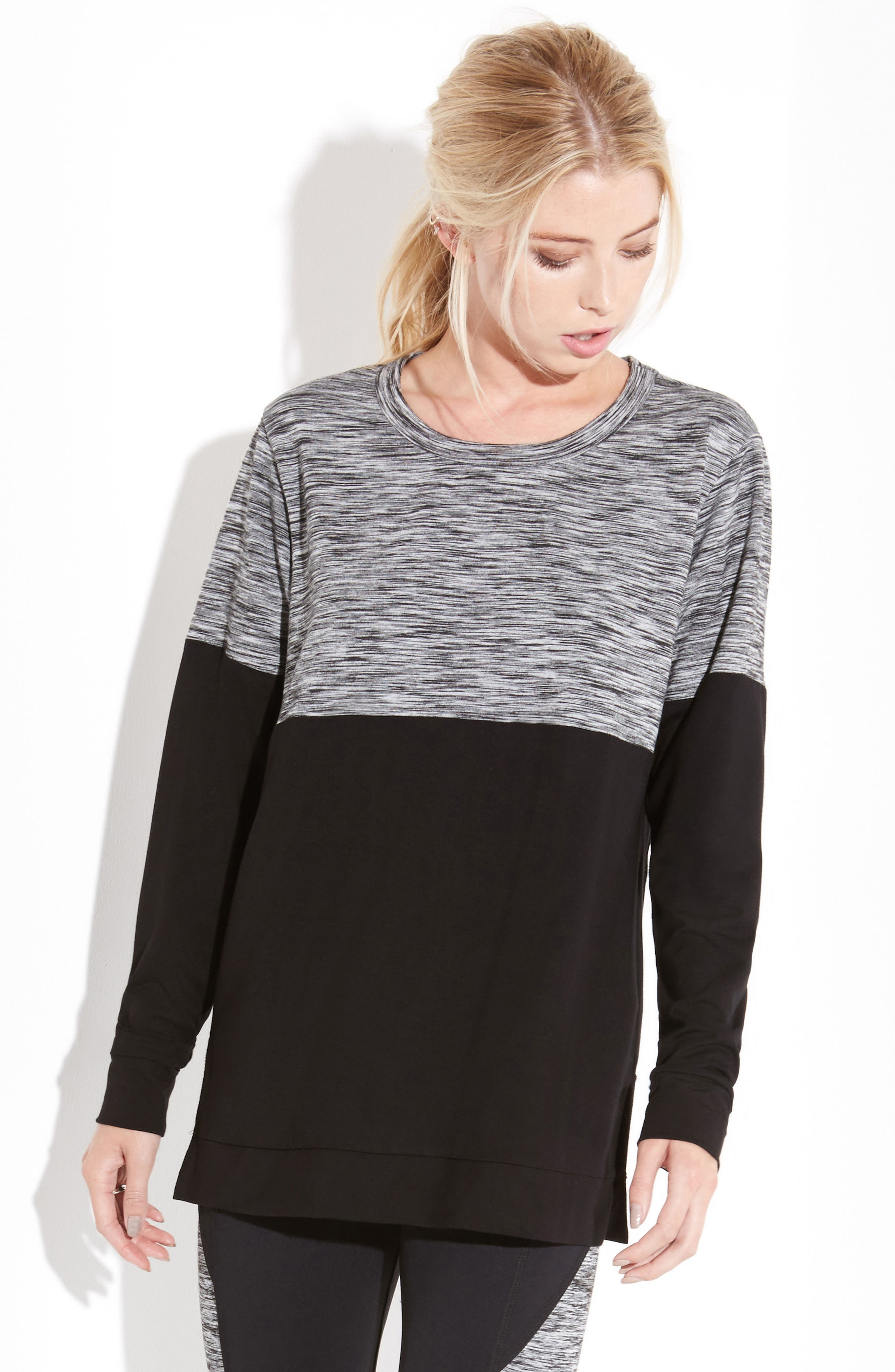 Long Sleeve Contrast Top,                             Alternate thumbnail 3, color,                             Print