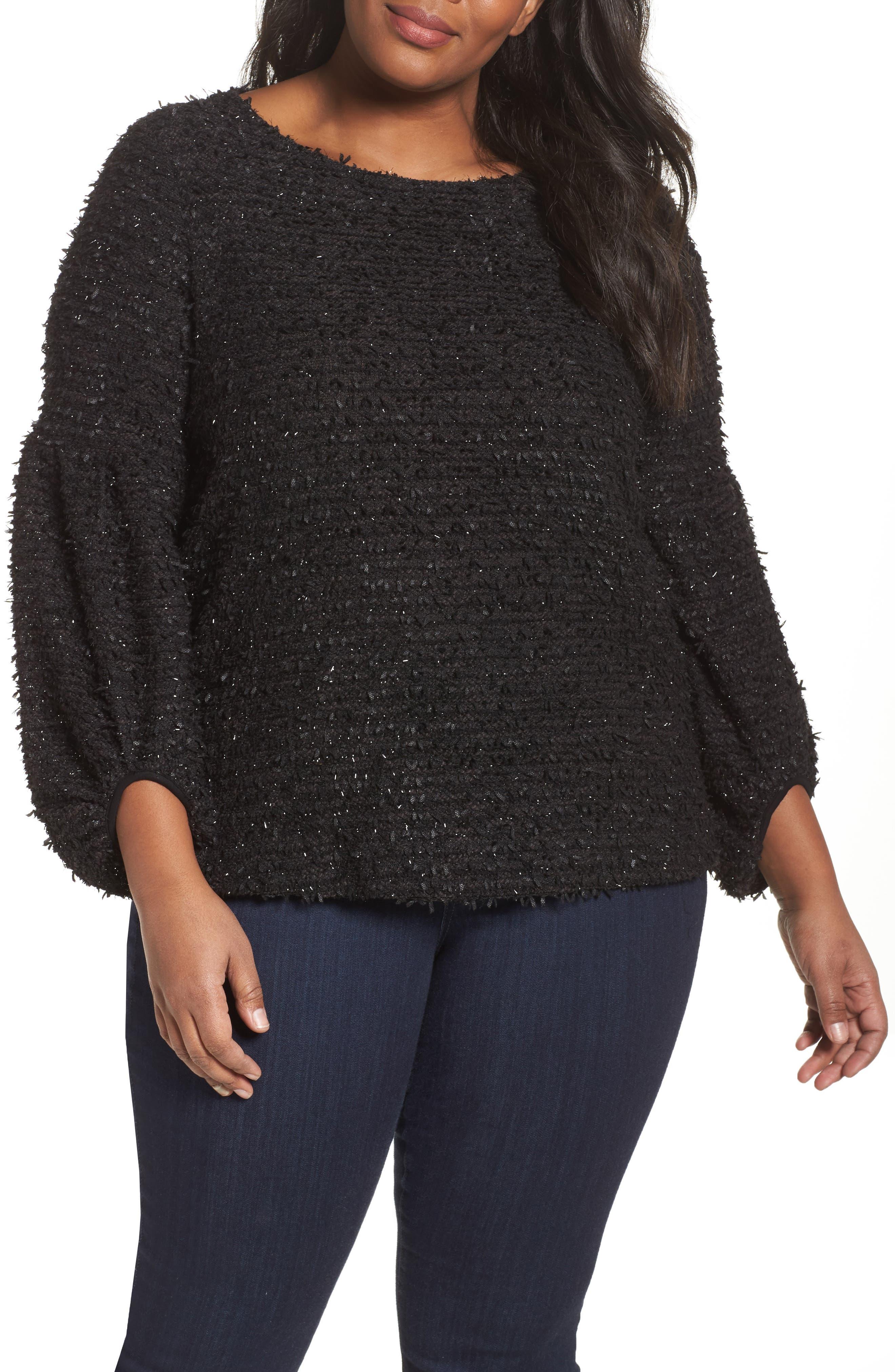 Vince Camuto Eyelash Knit Bubble Sleeve Sweater (Plus Size)