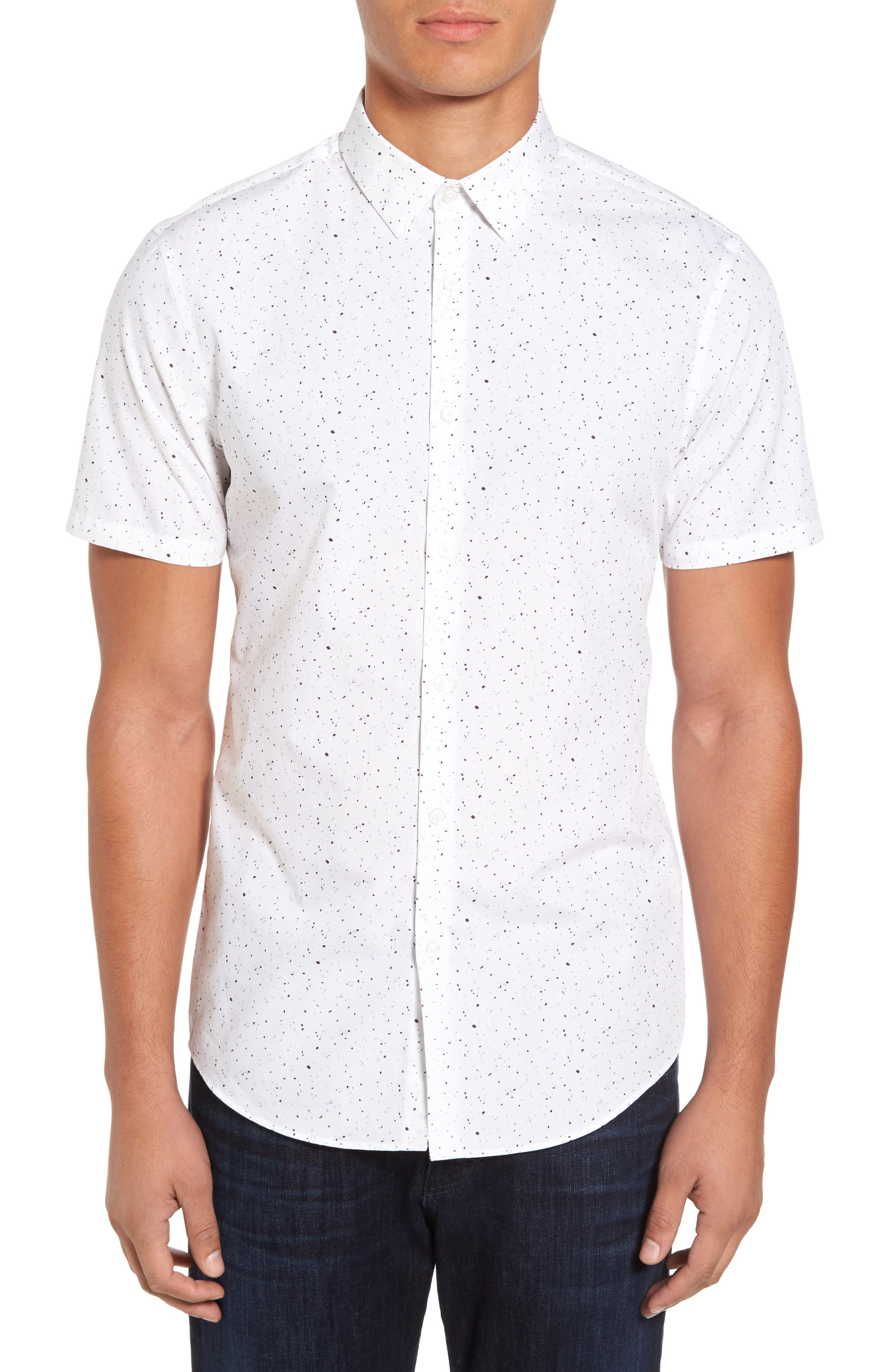 Speckle Print Sport Shirt,                         Main,                         color, White Plum Splatter Print
