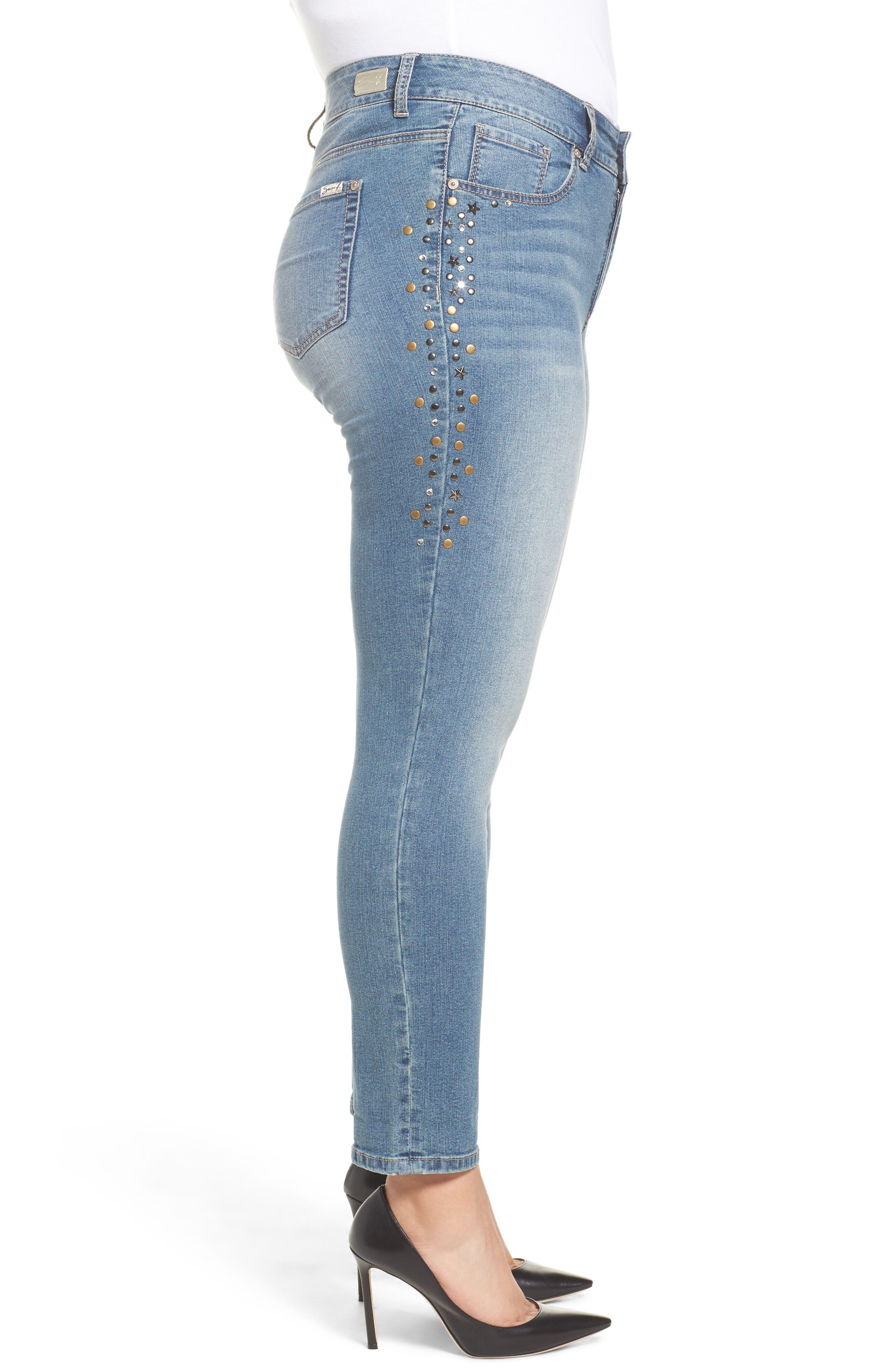 Stone Detail Skinny Jeans,                             Alternate thumbnail 3, color,                             Daphne