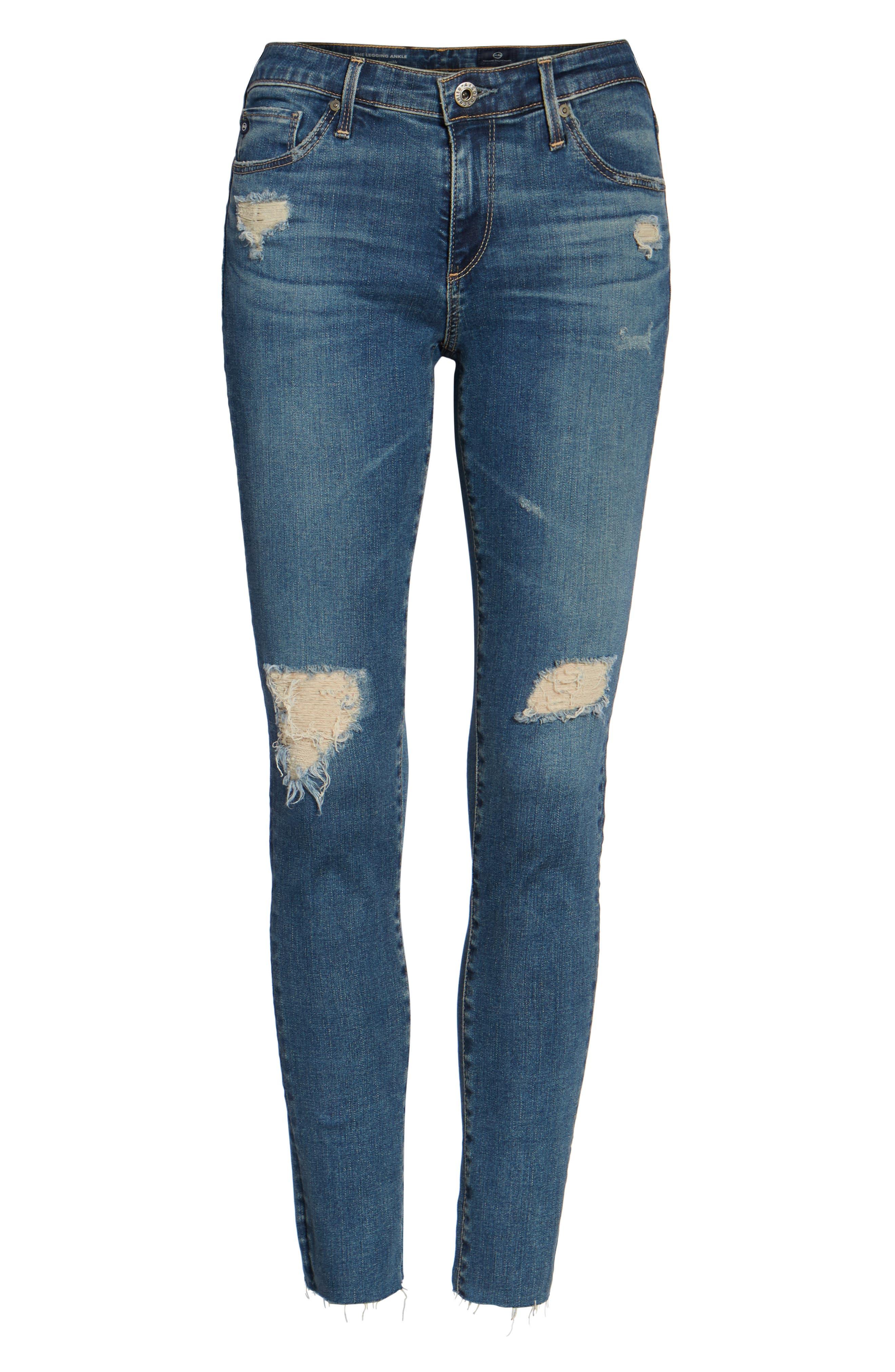 The Legging Ankle Super Skinny Jeans,                             Alternate thumbnail 6, color,                             Serendipitous Destructed