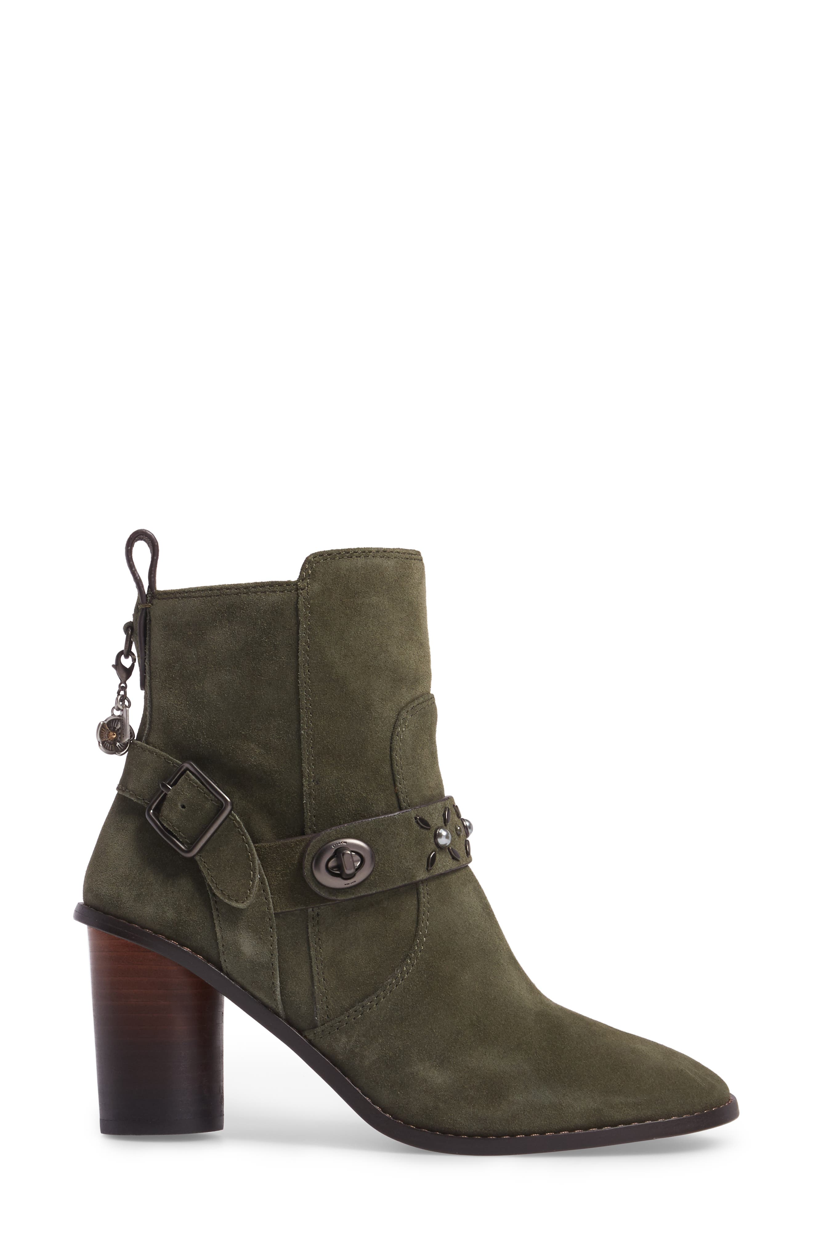 Studded Western Boot,                             Alternate thumbnail 3, color,                             Olive Suede