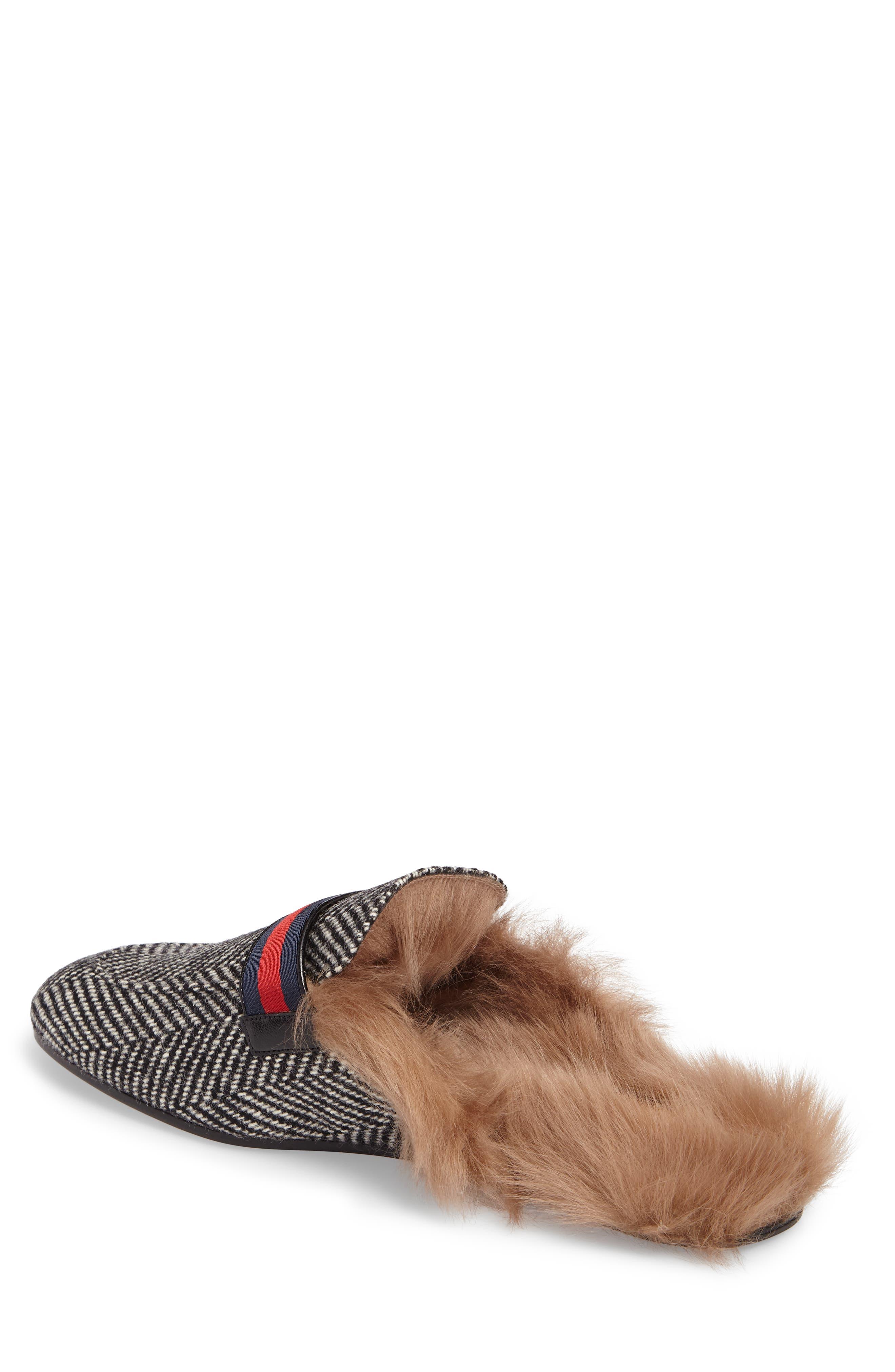 Alternate Image 2  - Gucci New Princetown Genuine Shearling Herringbone Loafer Mule (Men)
