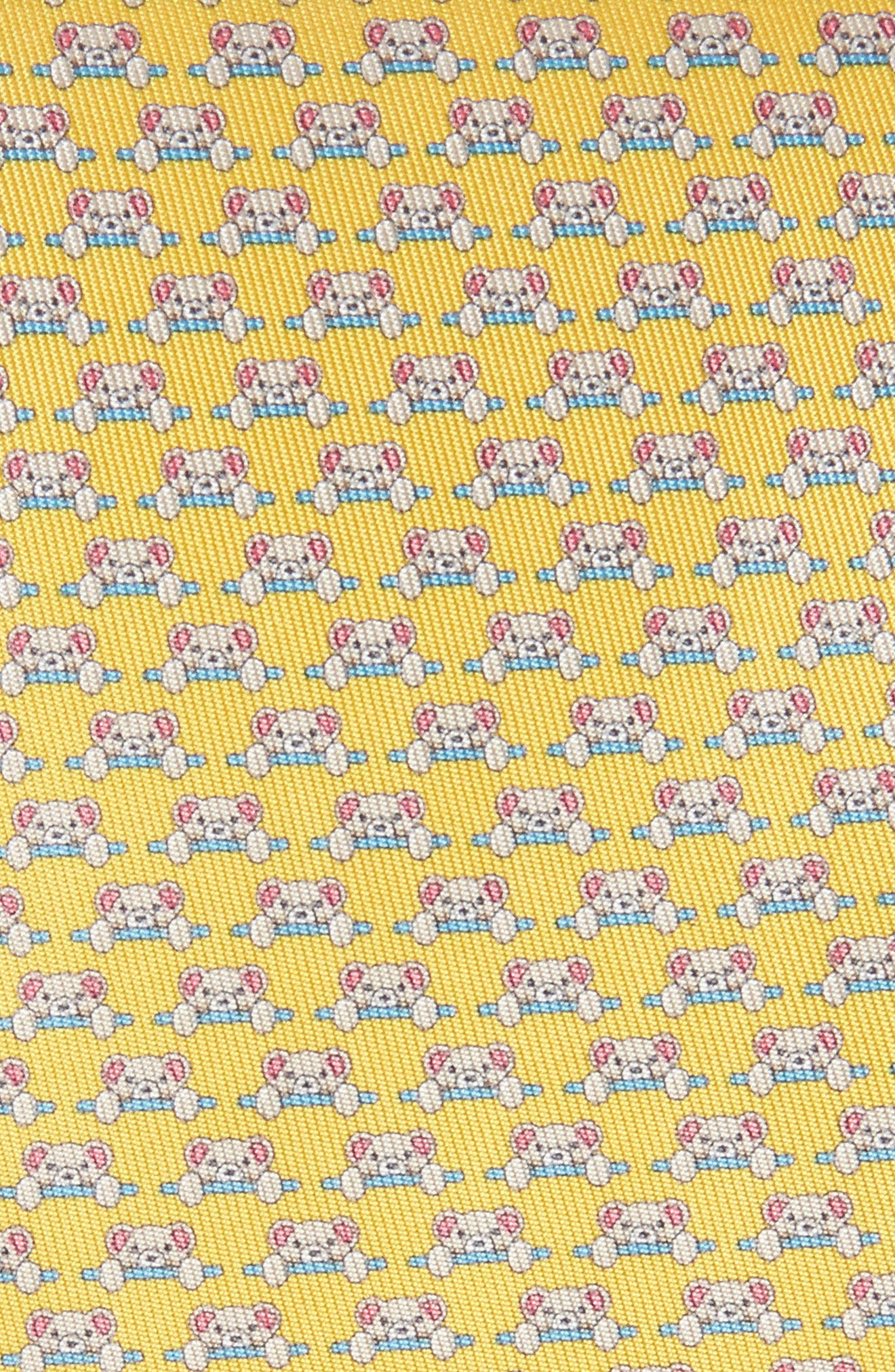 Dino Bear Print Silk Tie,                             Alternate thumbnail 2, color,                             Yellow
