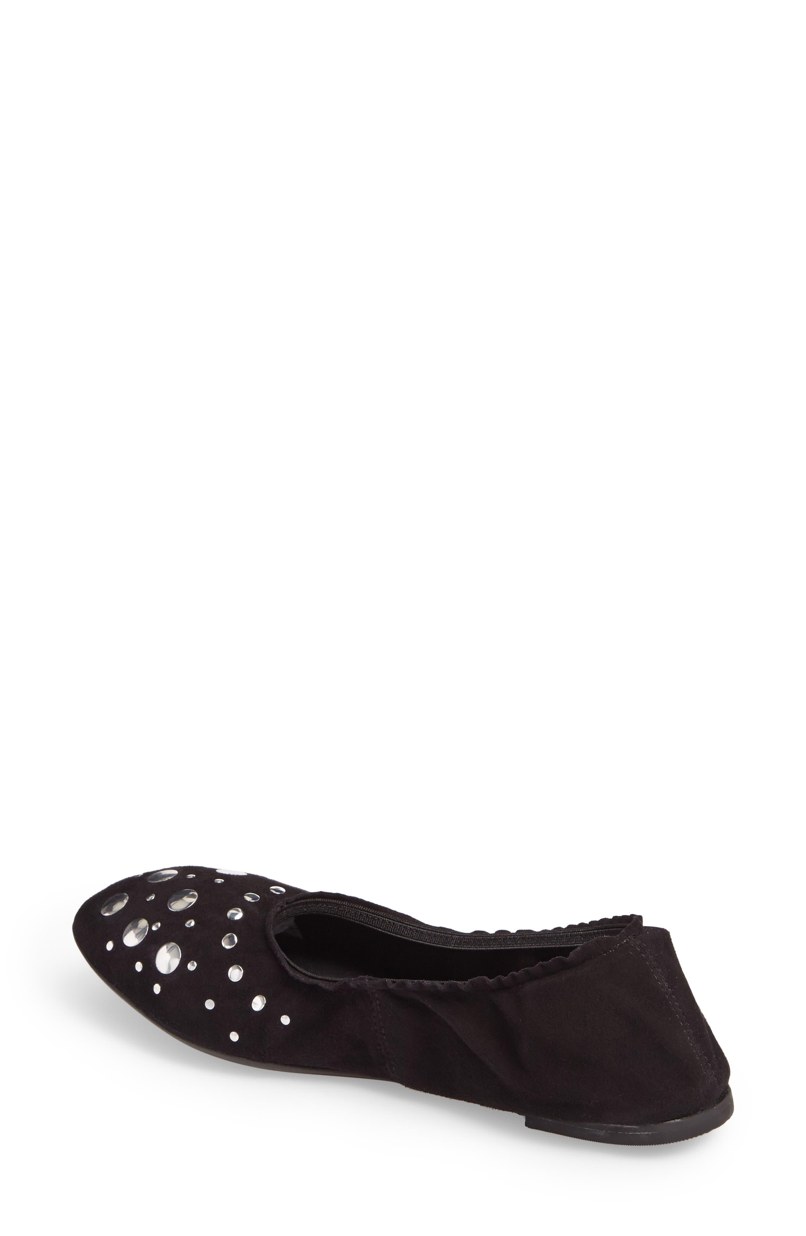 Jacob Ballet Flat,                             Alternate thumbnail 2, color,                             Black Leather