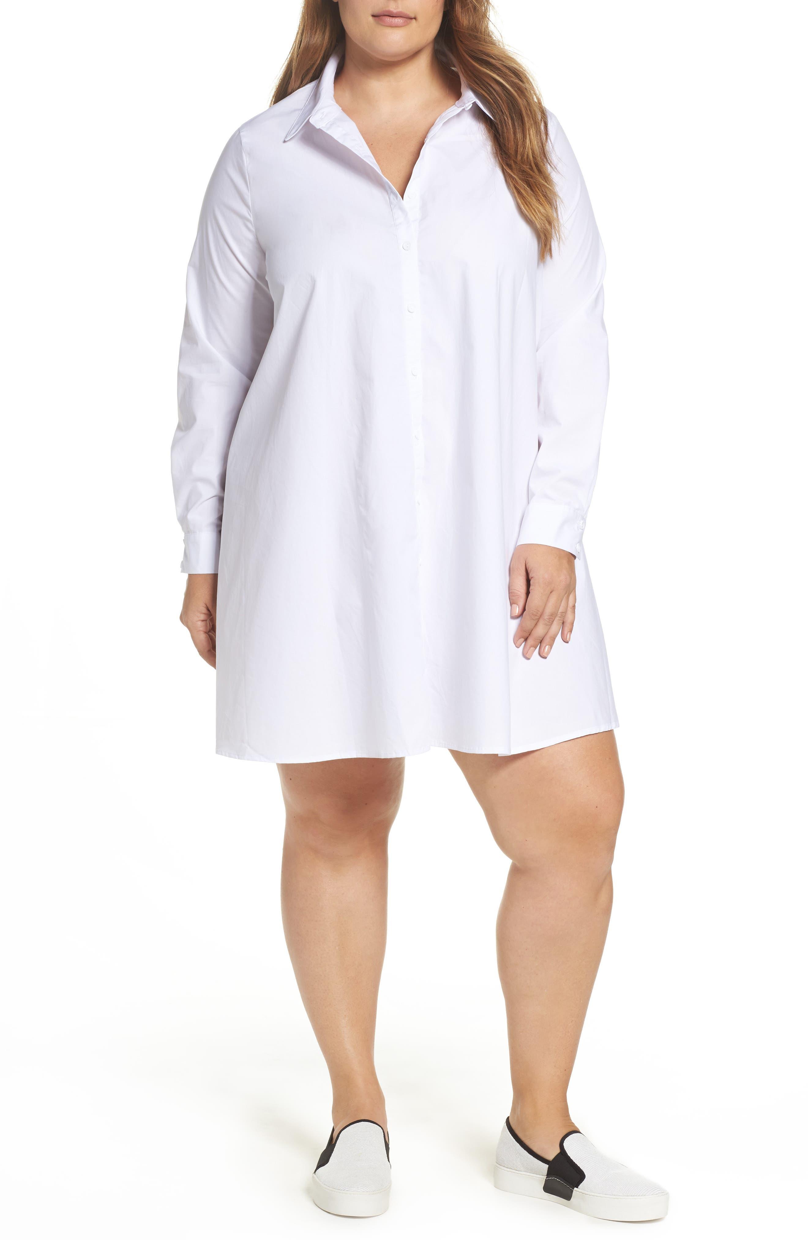 Cotton Shirtdress,                         Main,                         color, White