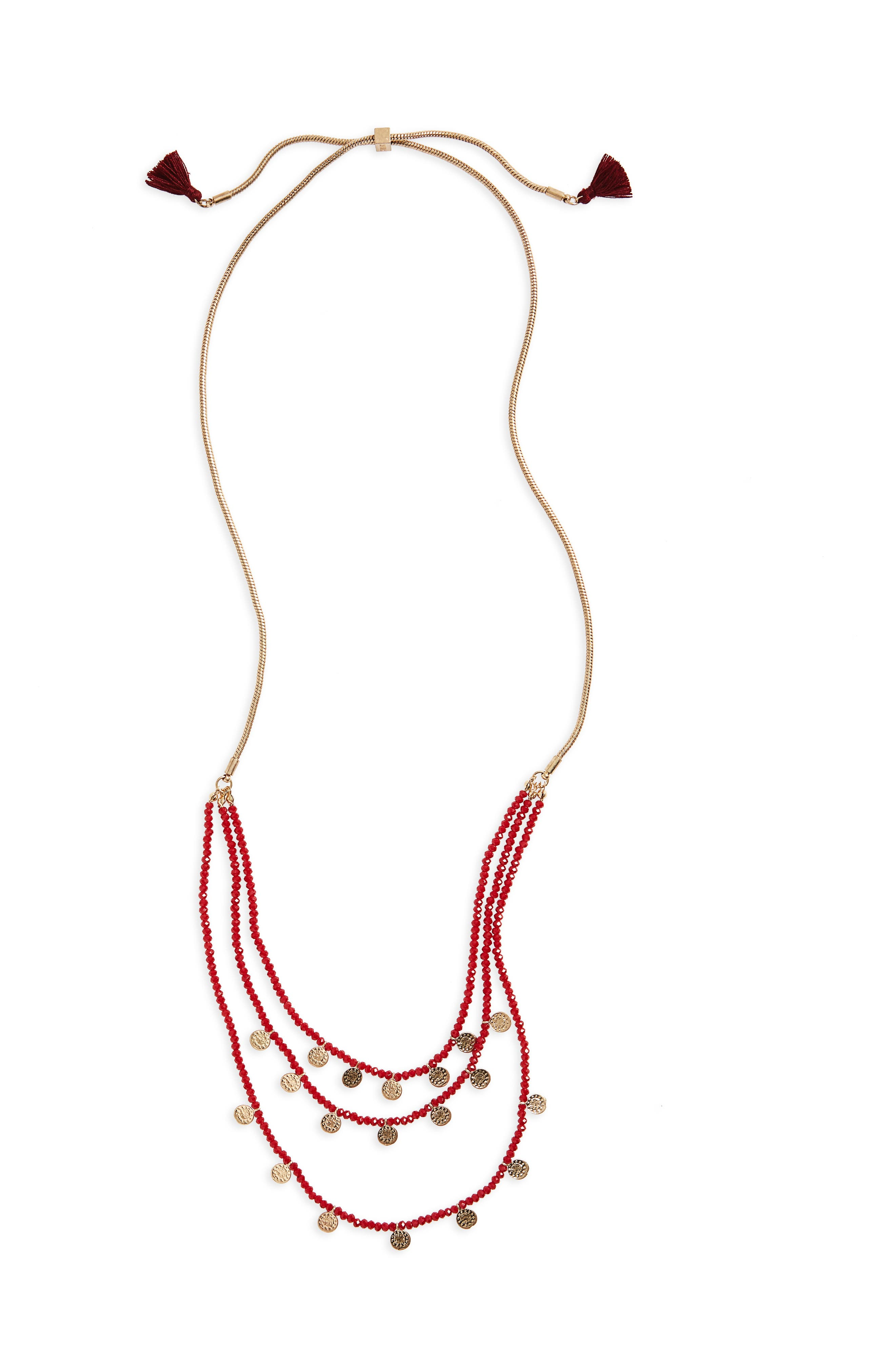 Medallion & Bead Necklace,                         Main,                         color, Burgundy