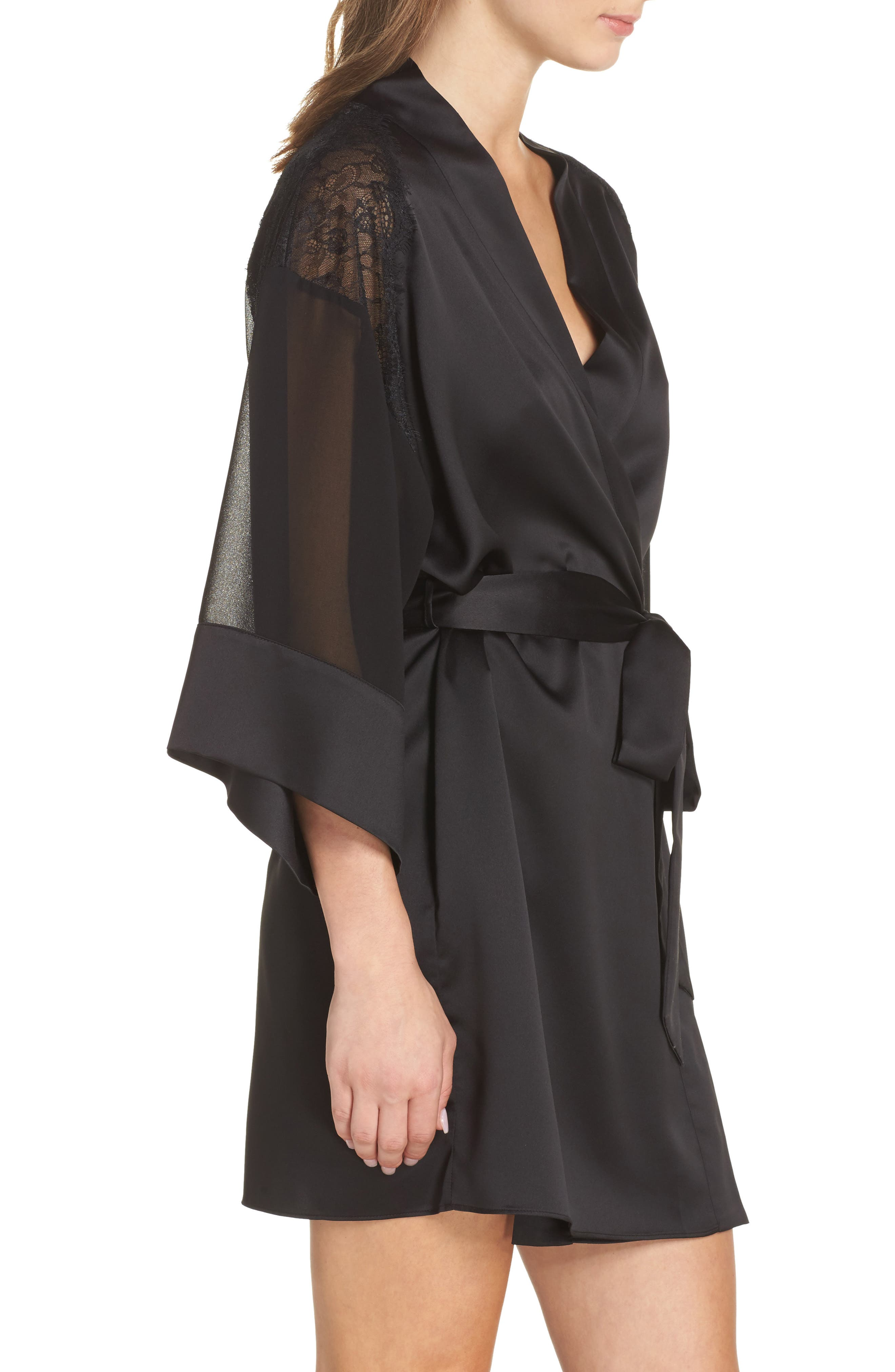 Margot Kimono Robe,                             Alternate thumbnail 3, color,                             Black