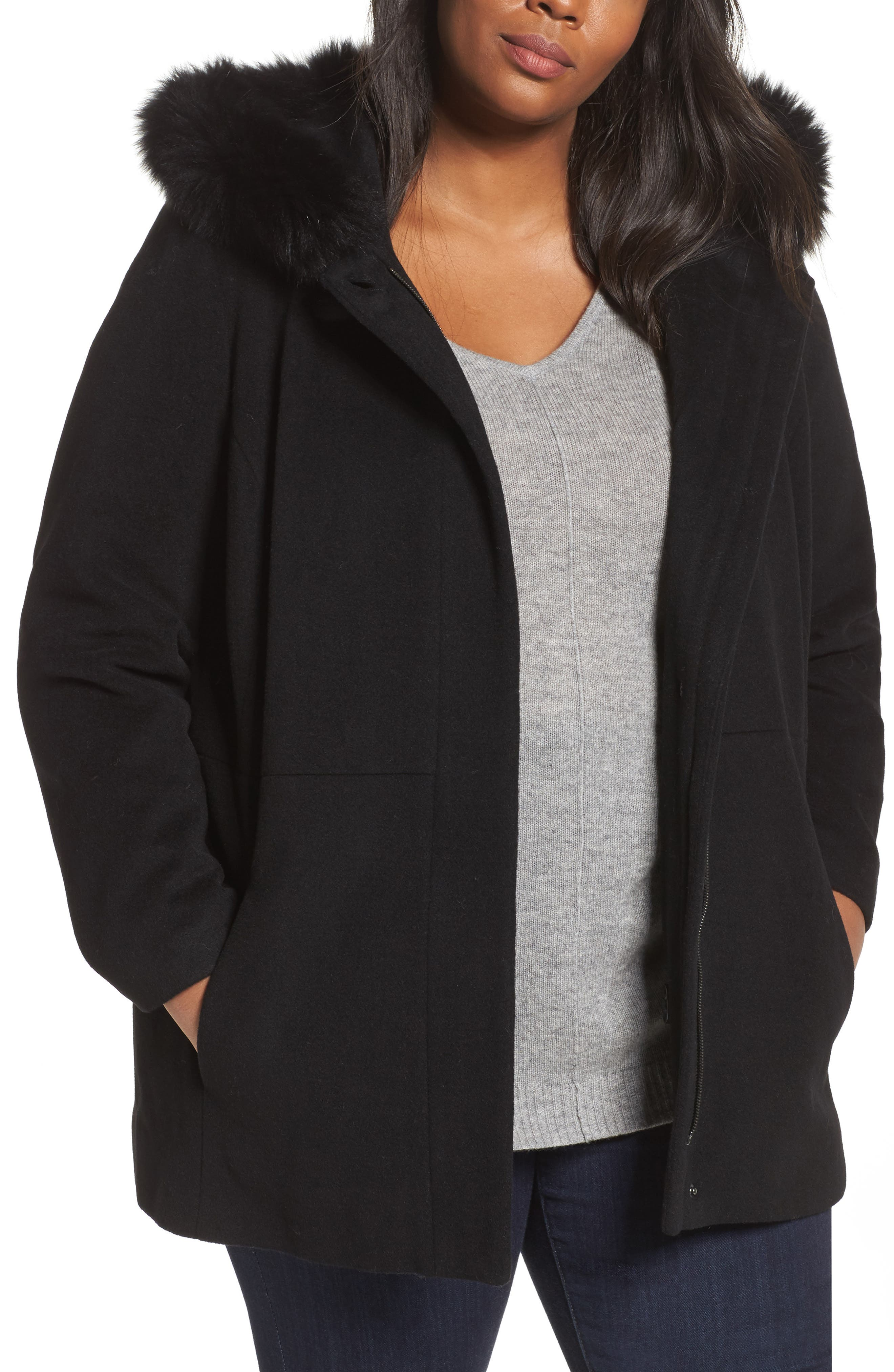 Main Image - Sachi Genuine Fox Fur Trim Hooded Wool Blend Jacket (Plus Size)