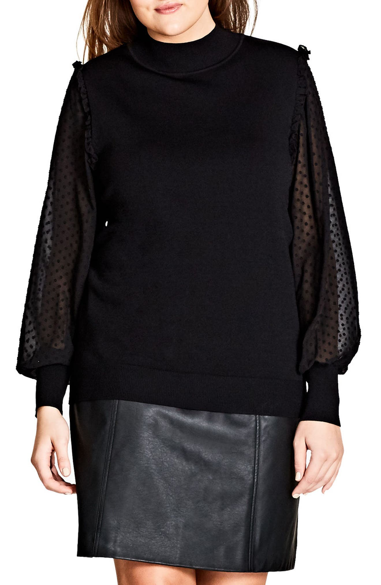 Swiss Dot Sleeve Sweater,                         Main,                         color, Black