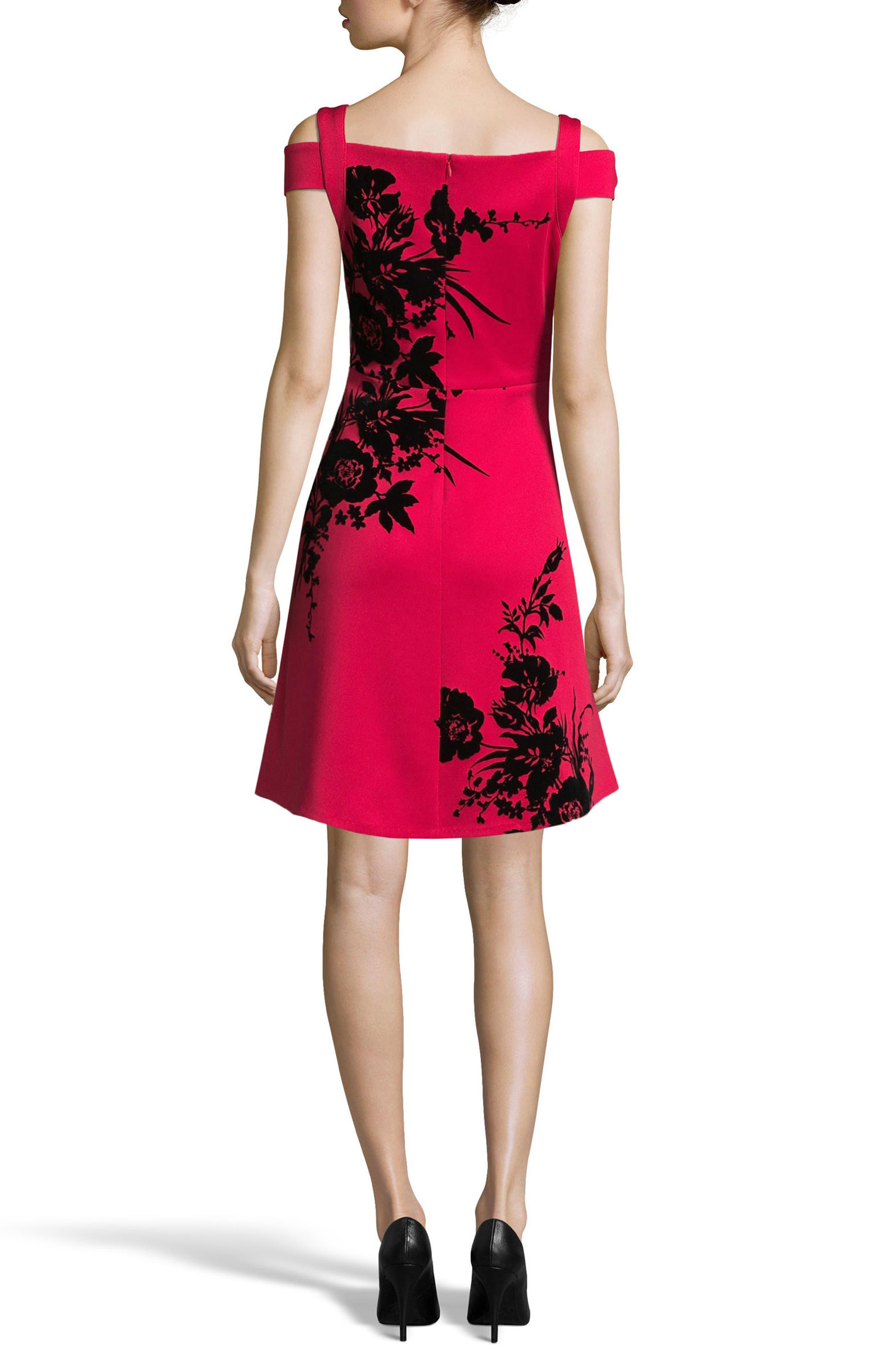 Flocked Scuba Knit Fit & Flare Dress,                             Alternate thumbnail 2, color,                             Red/ Black